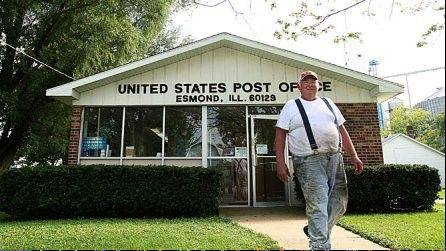 Otto Heisner exits the Esmond Post Office on Tuesday, one of three offices in the county on an evaluation list that possibly will close.