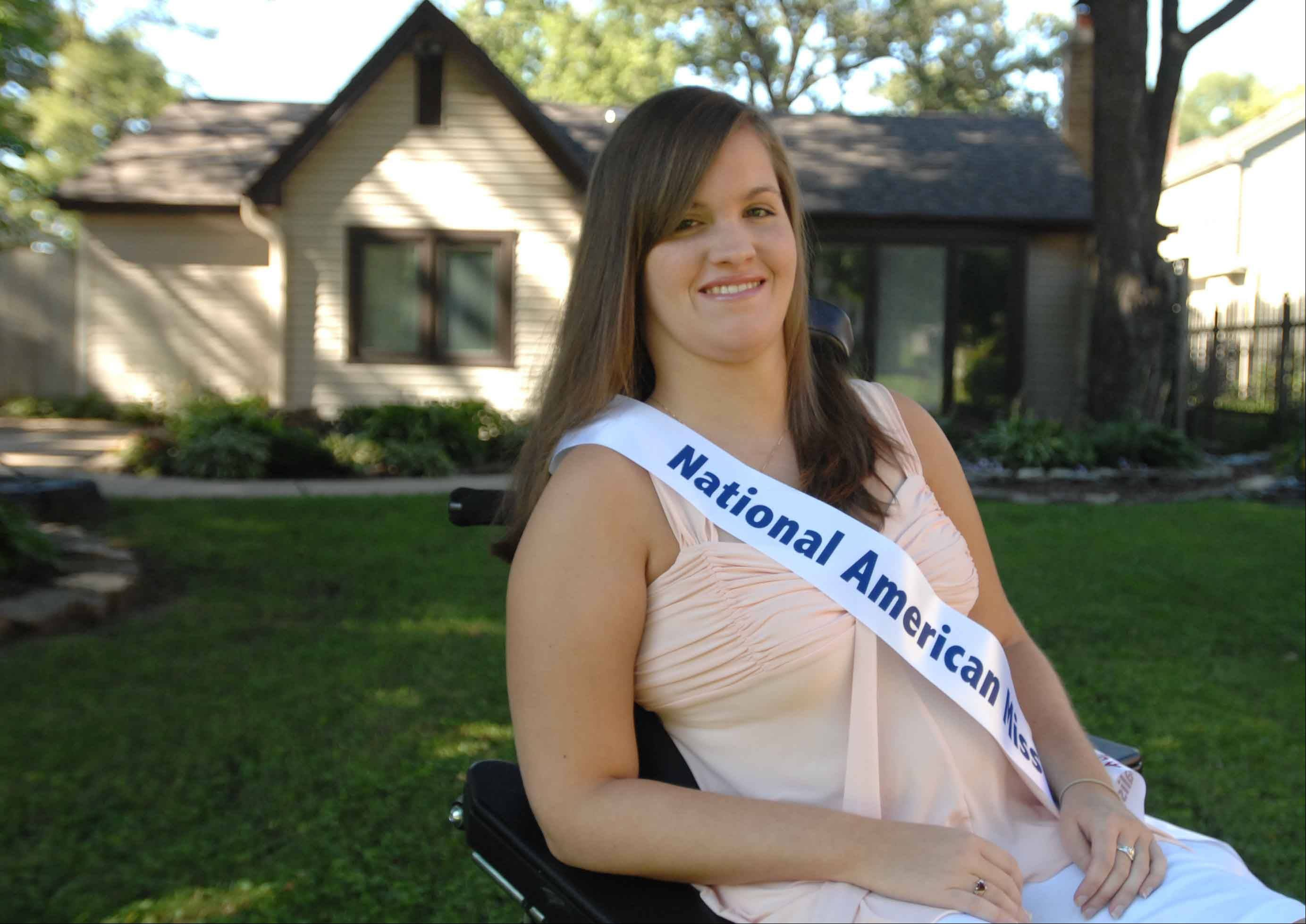Though confined to a wheelchair, Devin Davis, 19, of Elmhurst, will compete in the National American Miss Illinois state pageant this weekend in St. Charles.