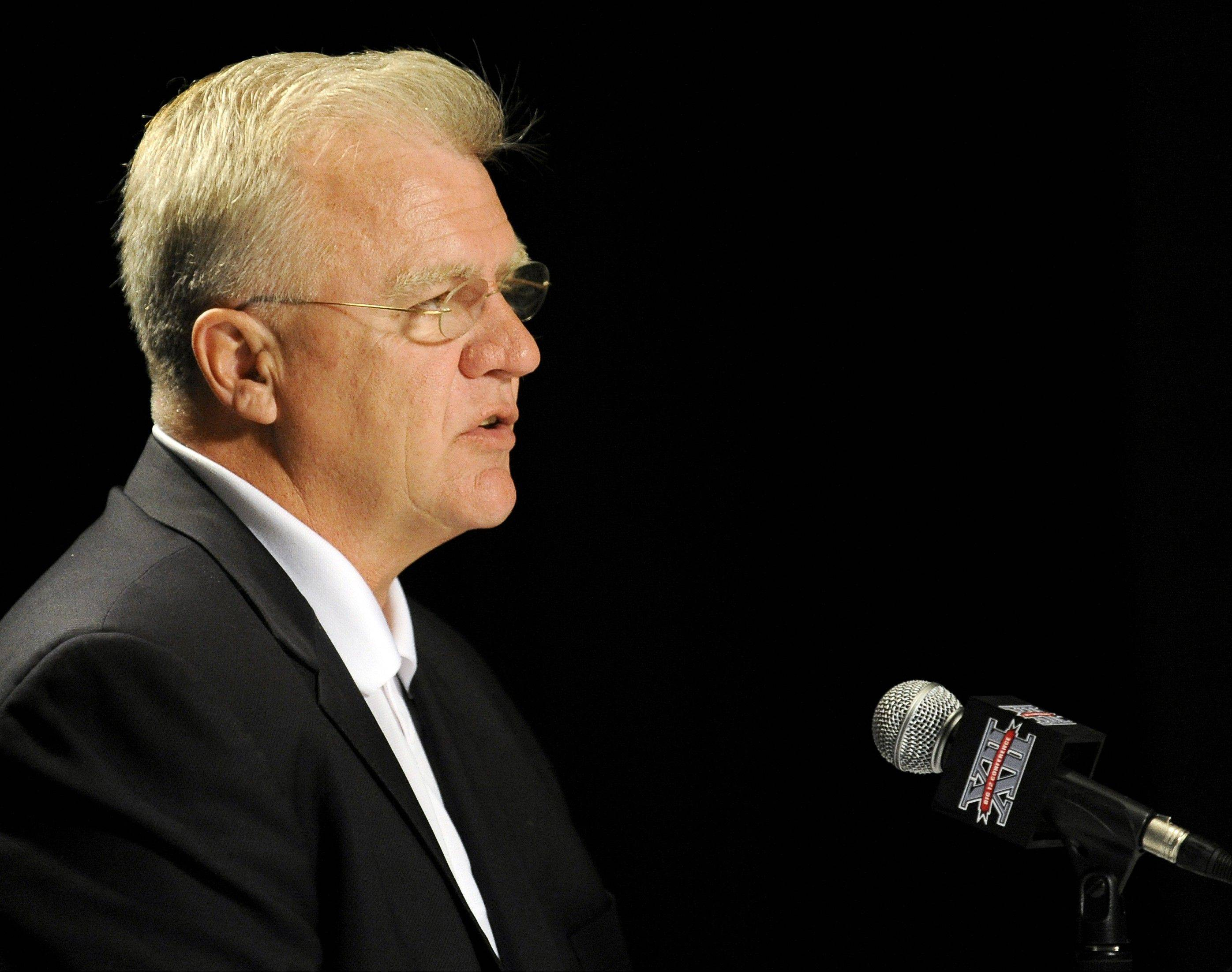 Texas A&M head coach Mike Sherman, shown here during the recent Big 12 Media Day conference, could be leading the Aggies in the SEC next fall. Texas A&M officials have told the Big 12 Conference they will leave next July if they are allowed to join another conference.