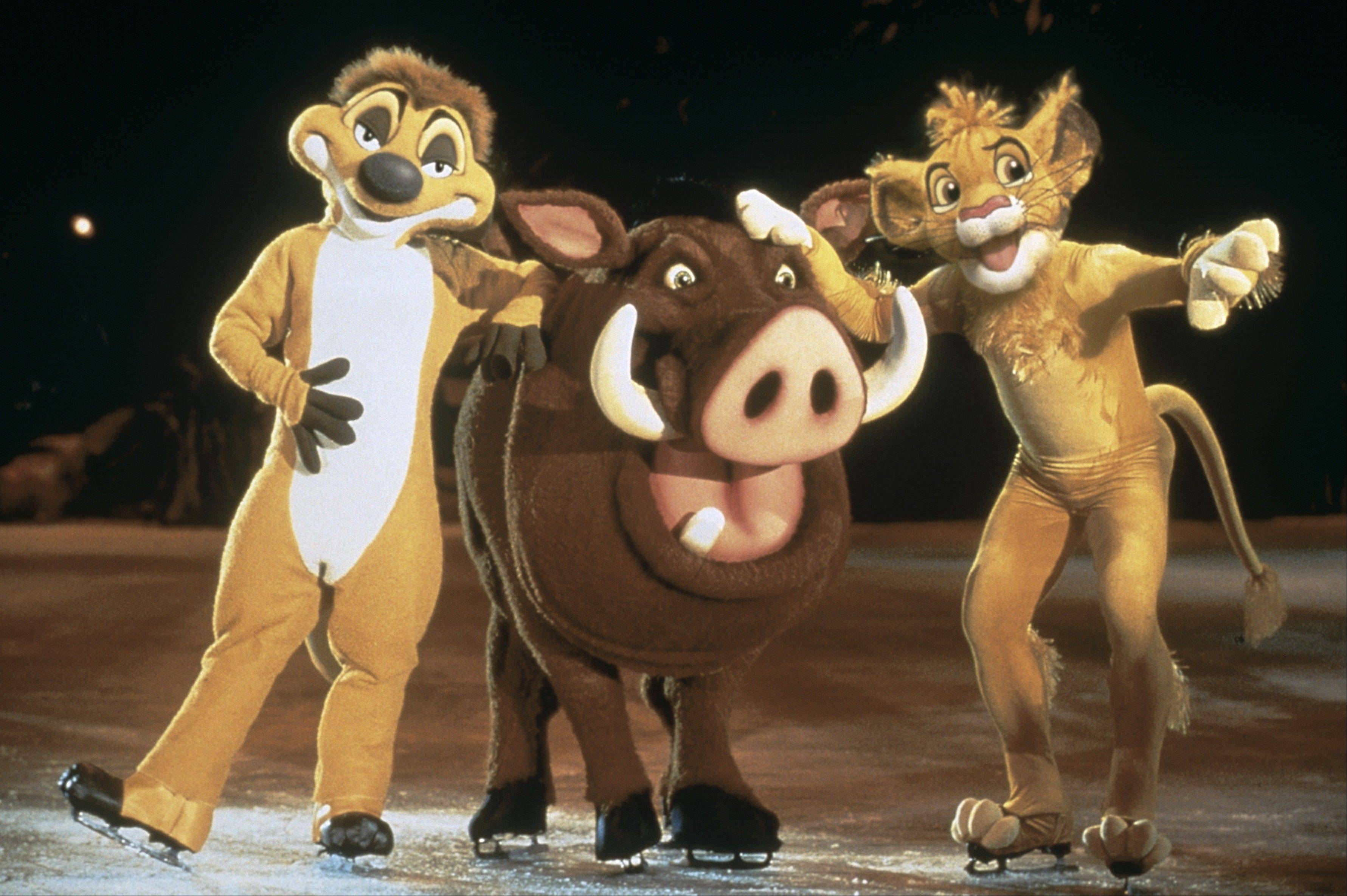 "Timon, Pumbaa and Simba take to the ice in ""Disney on Ice: Mickey & Minnie's Magical Journey"" at the United Center."