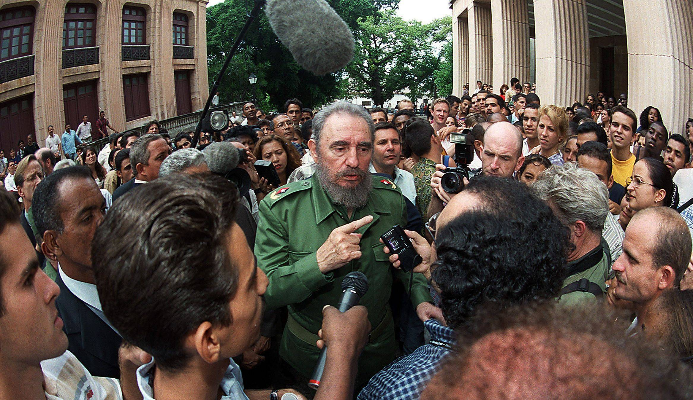 Fidel Castro addresses reporters and students at the University of Havana during former Gov. George Ryan�s 1999 trip to Cuba.