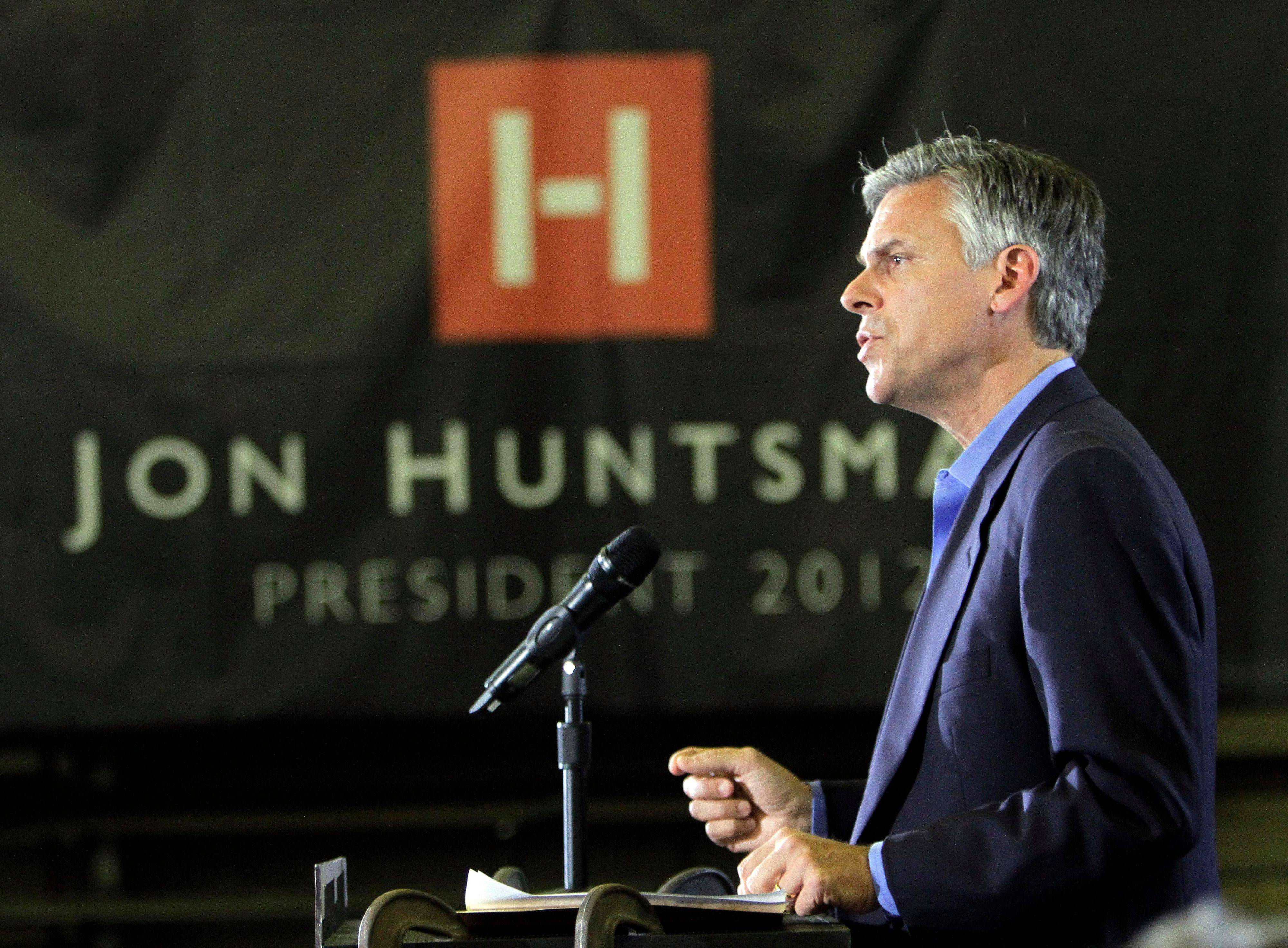 Republican presidential candidate former Utah Gov. Jon Huntsman of Utah speaks Wednesday during a campaign stop at Gilchrist Metal Fabrication in Hudson, N.H.