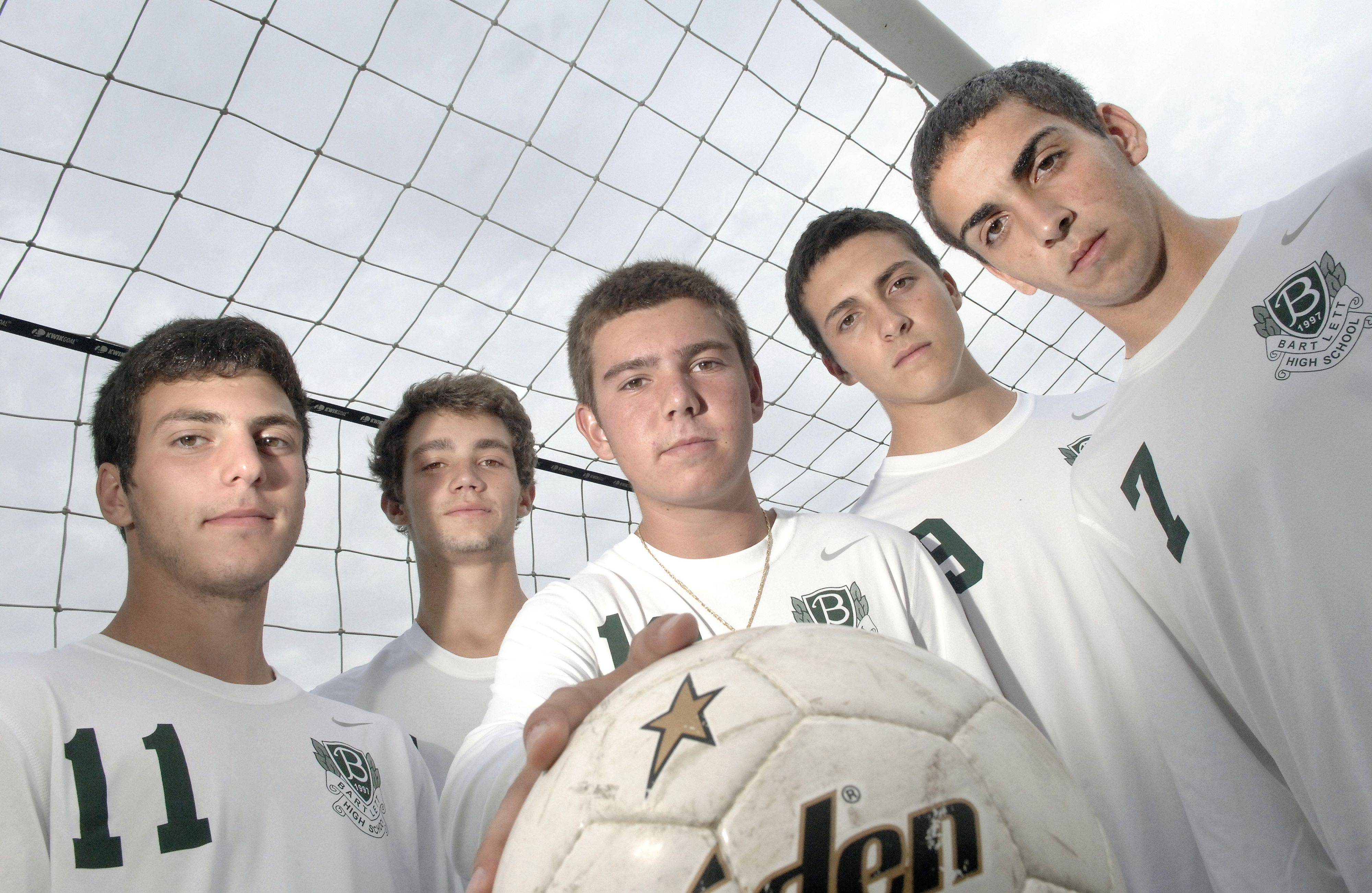 Bartlett varsity varsity soccer players, front row from left, Charlie Sordini, Anthony DiNuzzo, Fabio Aiello. Back row from left, Joey Morgan and Tyler Lake. All are seniors and hope to lead the Hawks to their best season ever.