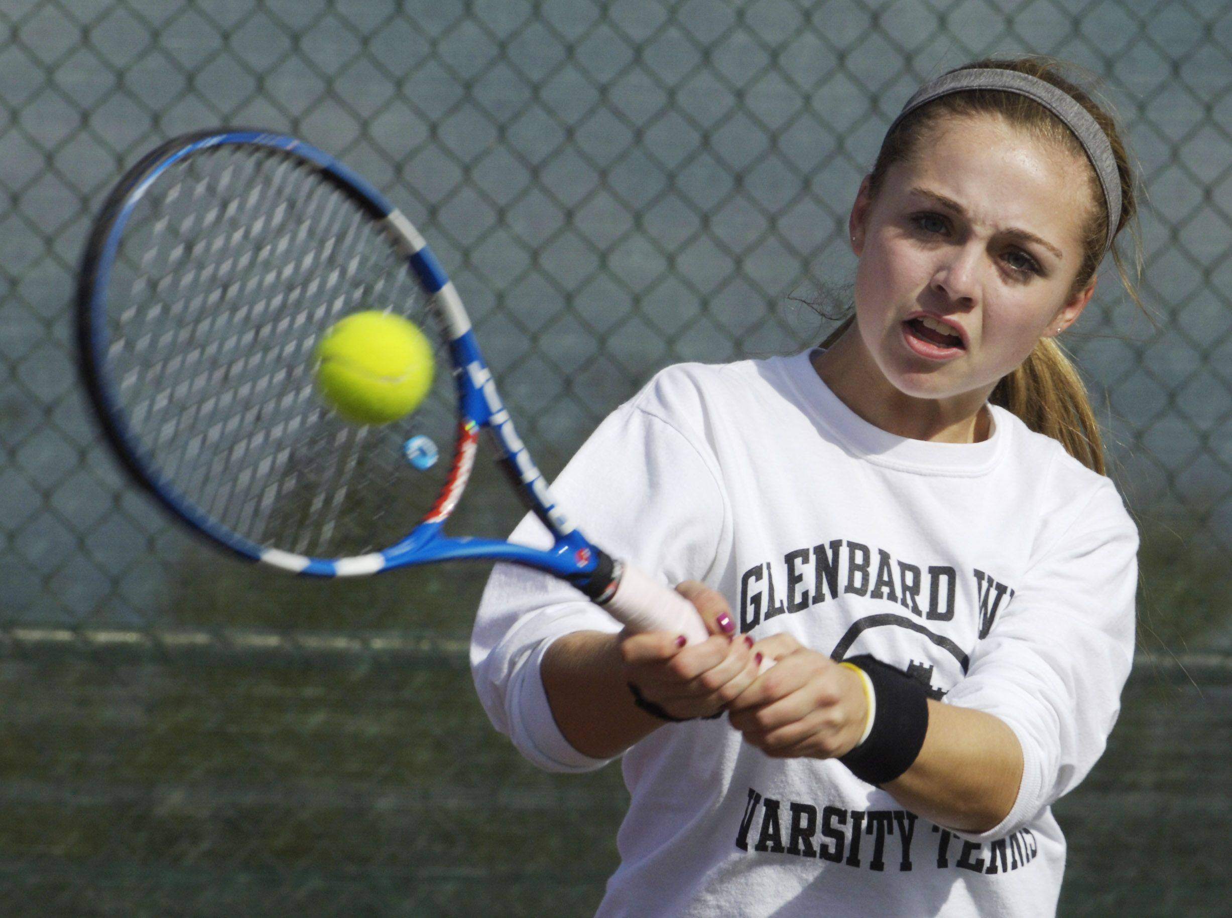 JOE LEWNARD/jlewnard@dailyherald.com � Meredith Maltby of Glenbard West returns a volley during the state girls tennis tournament at Buffalo Grove High School Thursday.