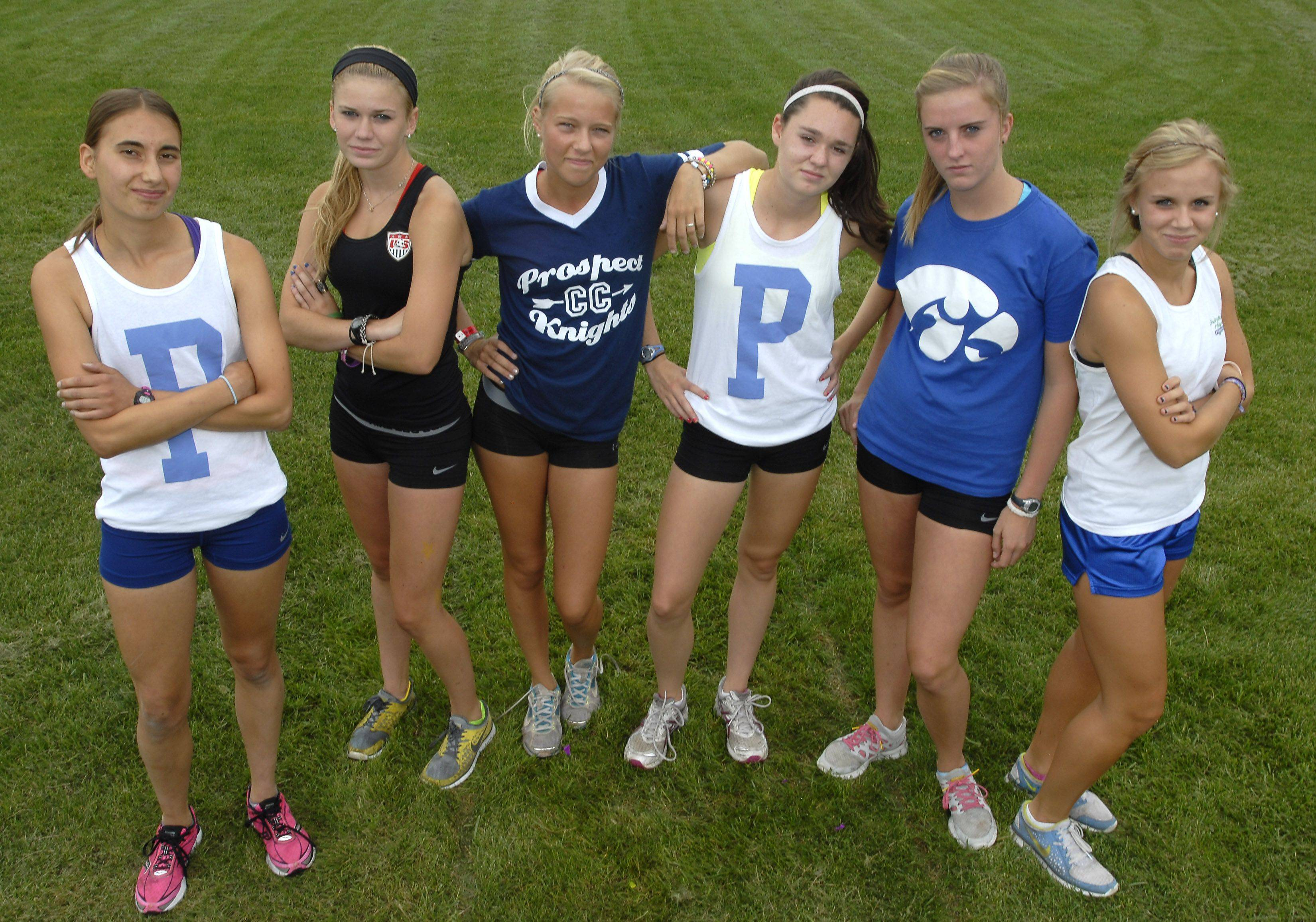 Prospect's state trophy-contending team includes, from left, Kate Welsh, Brooke Wolfe, Lauren Poplawski, Rachel Henk, Katrina Leemey and Laura Maibuecher.