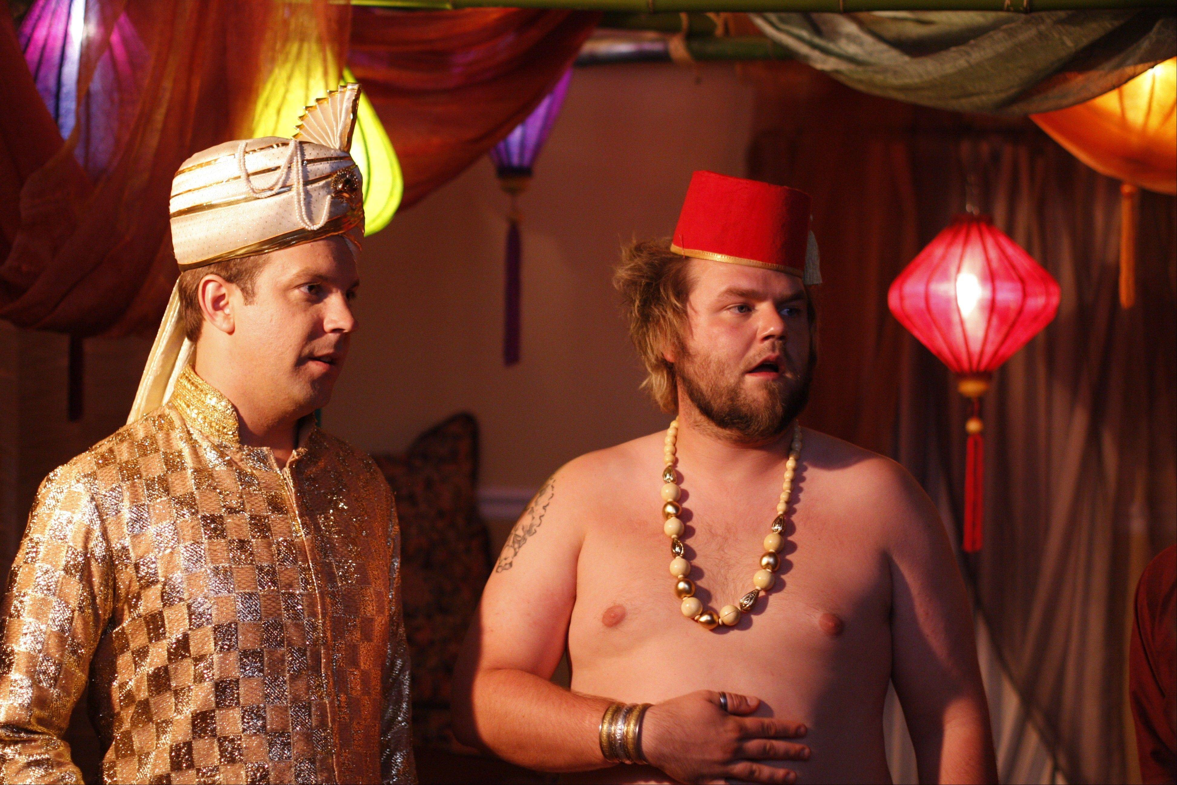 "Eric (Jason Sudeikis), left, and Mike (Tyler Labine) decide to throw ""A Good Old-Fashioned Orgy"" for their friends during Labor Day Weekend."