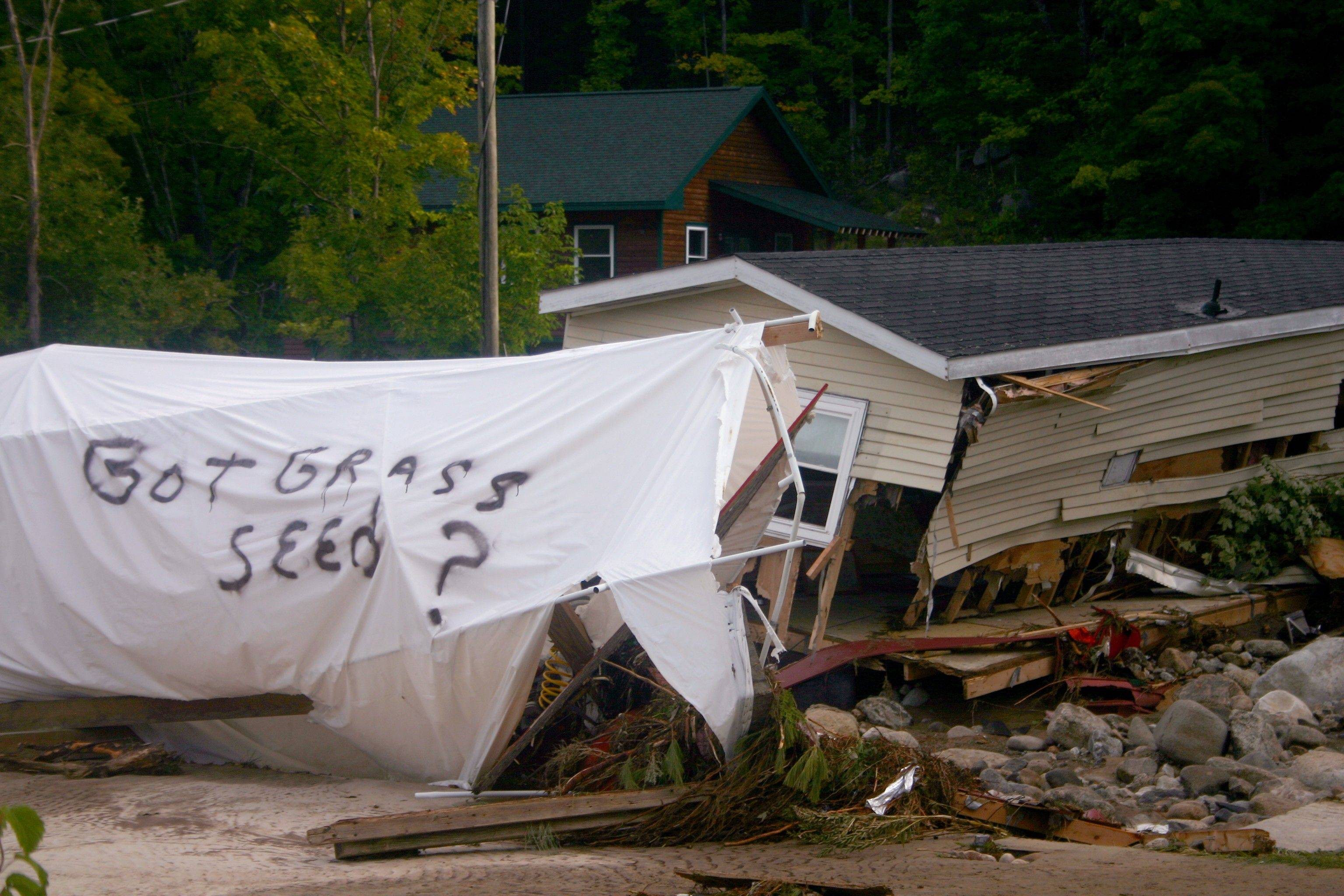 Flood waters in Keene, NY destroyed this mobile home Tuesday. Mountain communities scoured by cascades of rain and other towns swamped by rising streams and rivers continue to clean up and tally the damage two days after Tropical Storm Irene.