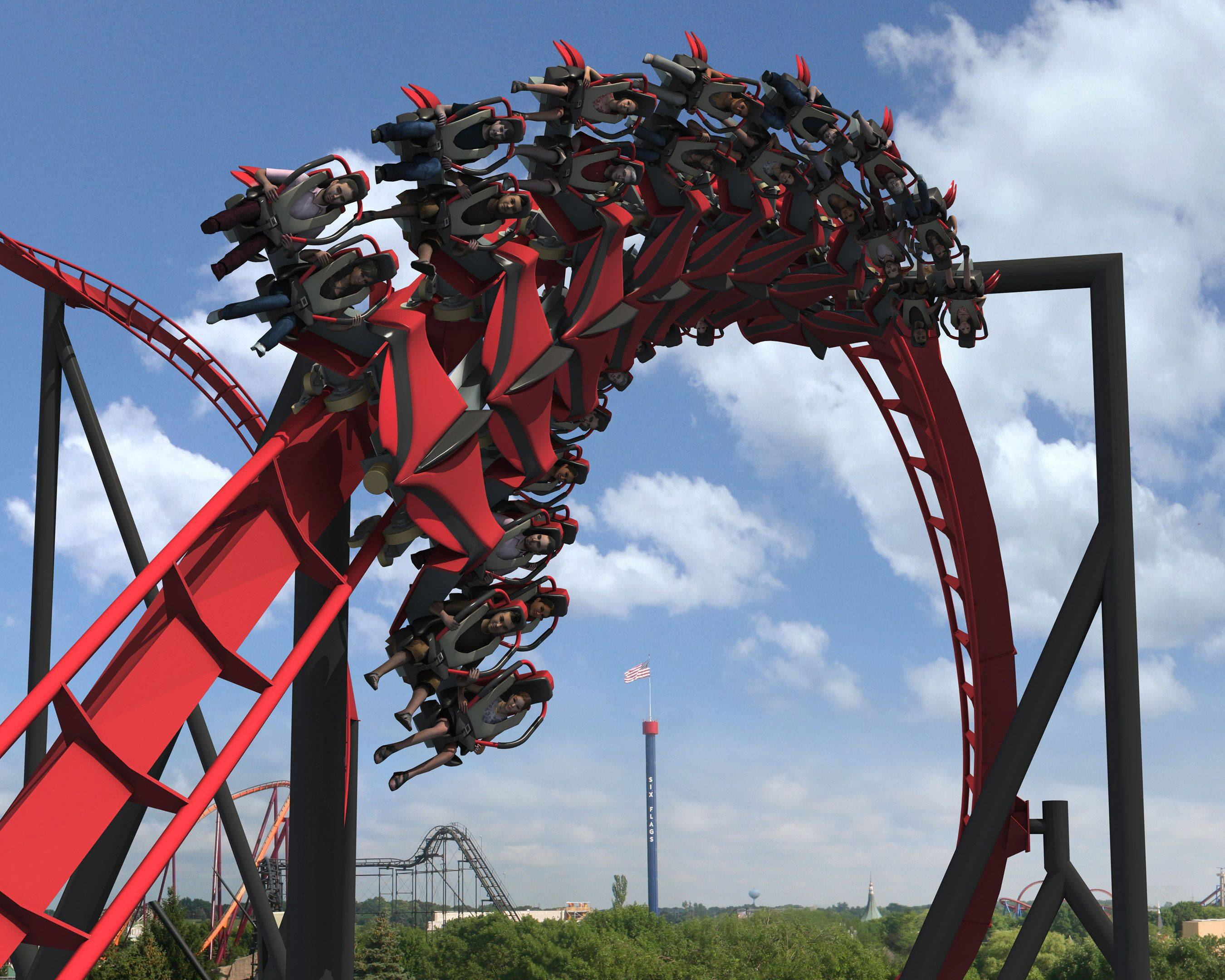 "Six Flags Great America in Gurnee announced the cutting-edge X-Flight roller coaster is projected to open next season. It's billed as a ""wing coaster."""