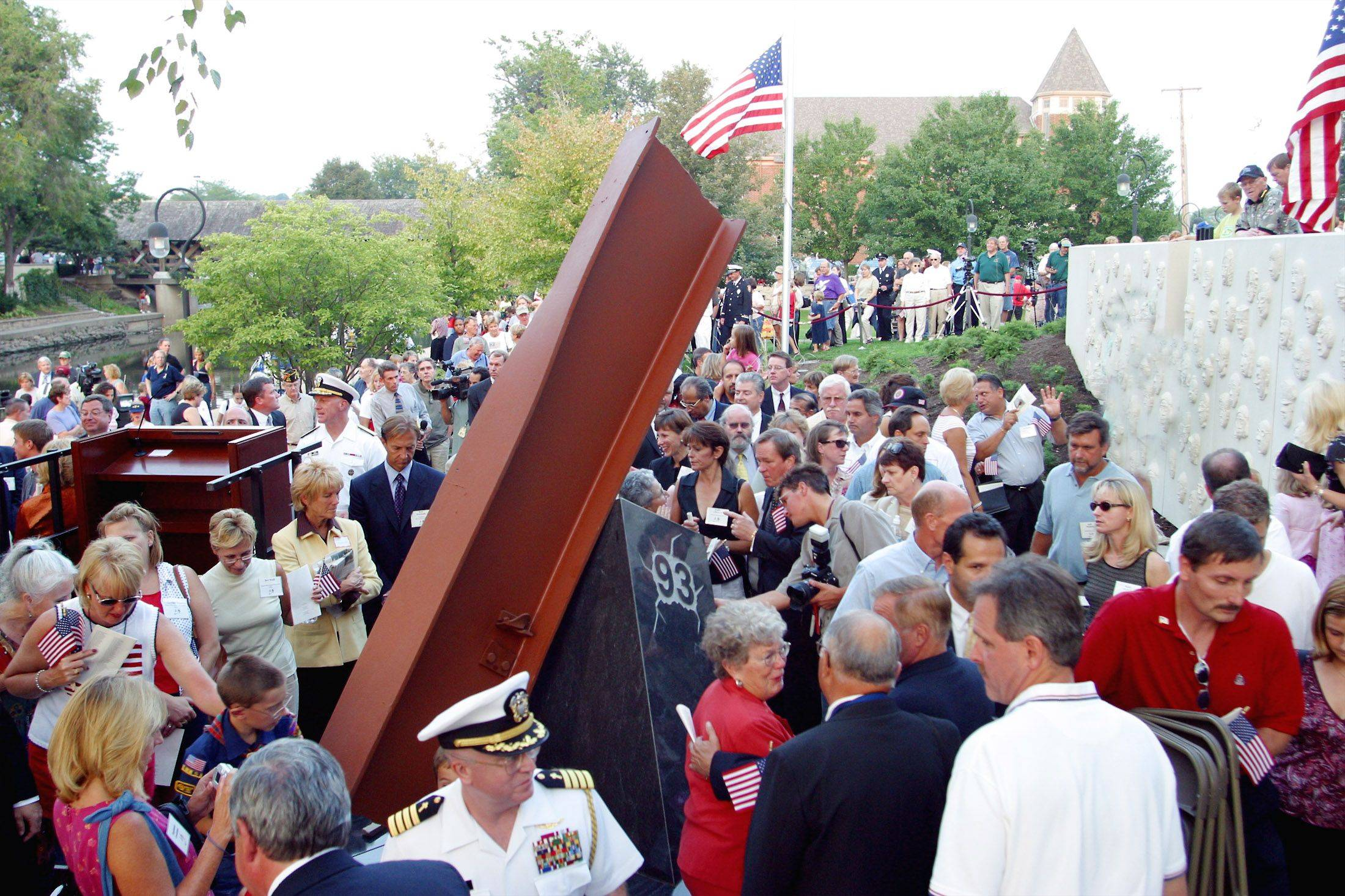 A crowd helps dedicate Naperville's Sept. 11 memorial in 2003. The memorial is dedicated to Naperville native Naval Commander Dan Shanower, who died in the attack on the Pentagon.