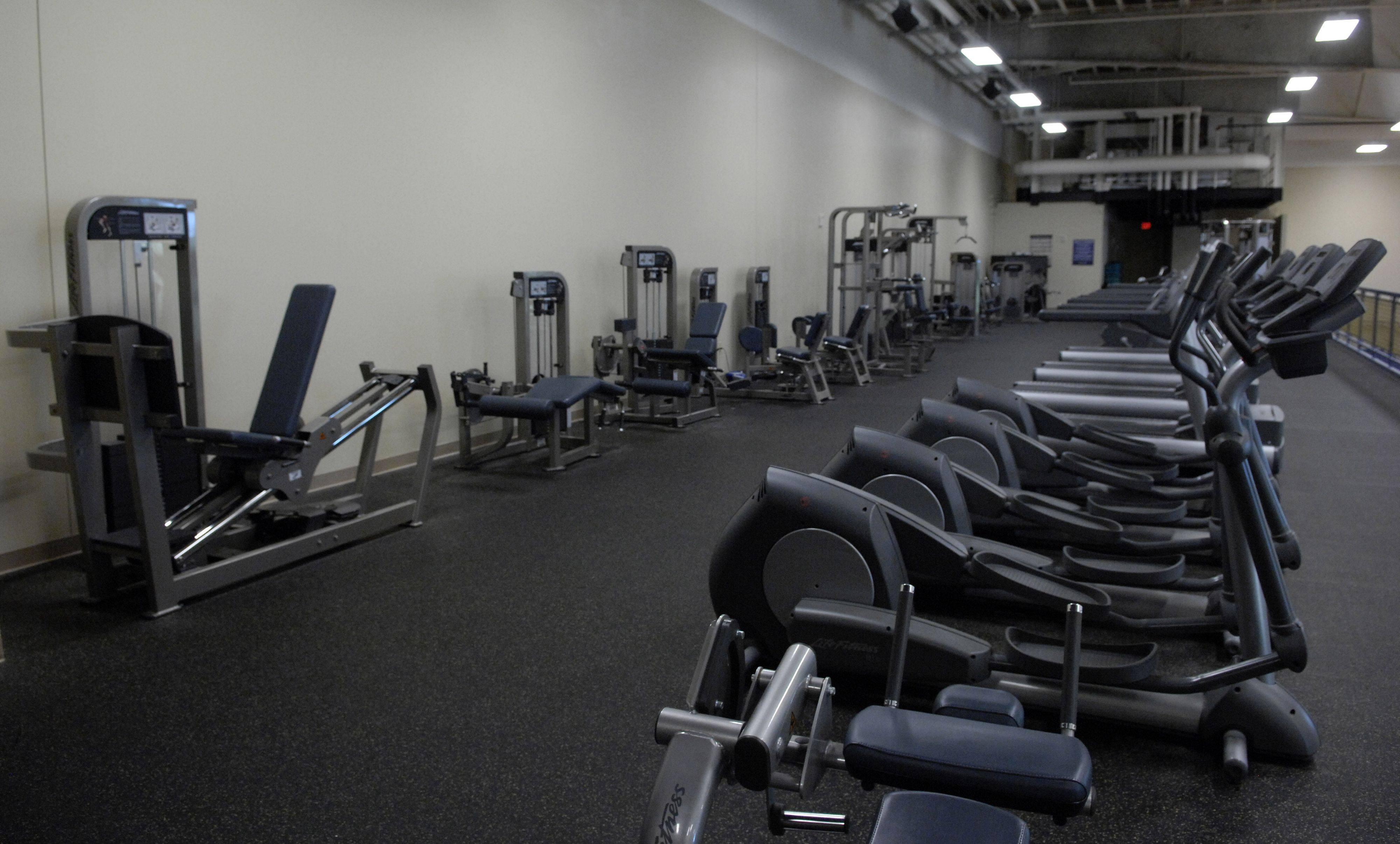 The weight and training area at Harvest Christian Academy in Elgin overlooks the gym.