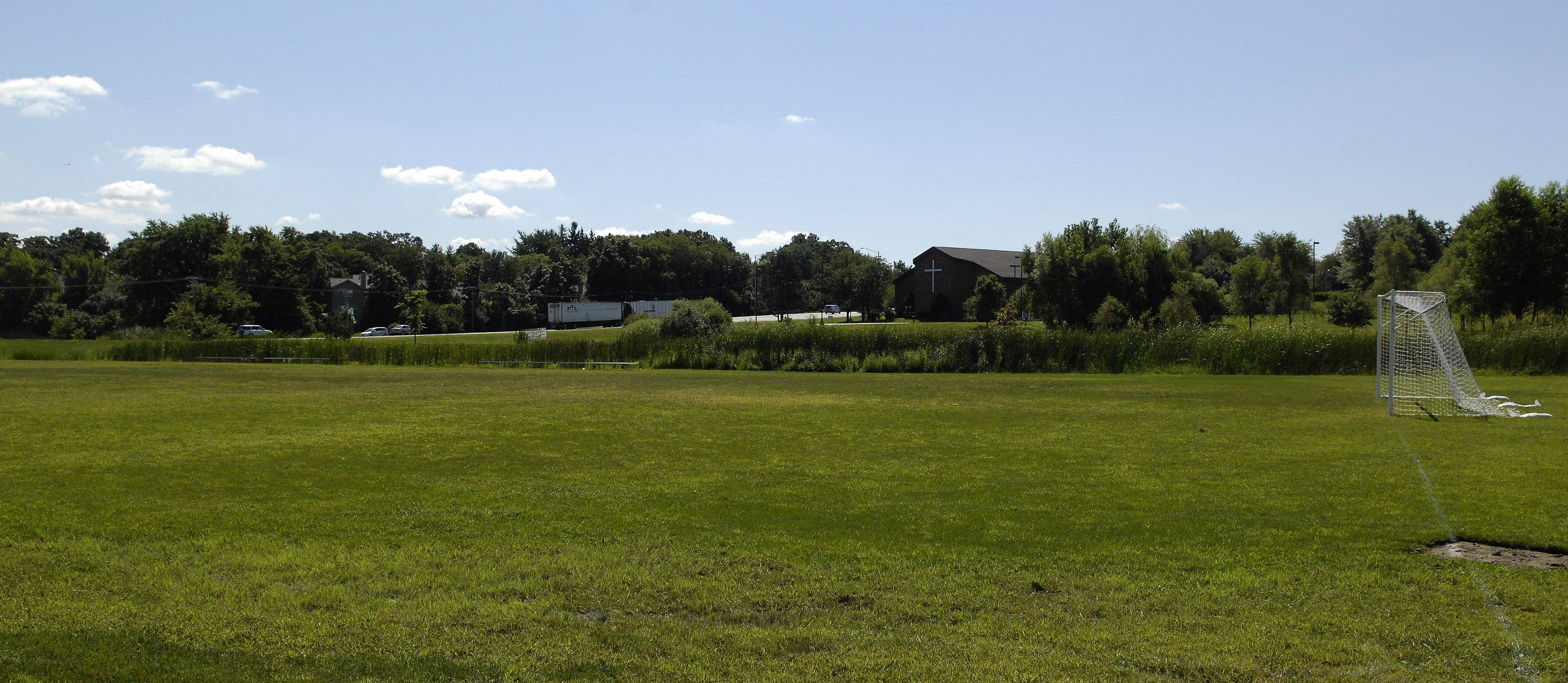 The soccer field at Harvest Christian Academy in Elgin just off Randall Road across from the Home Depot.