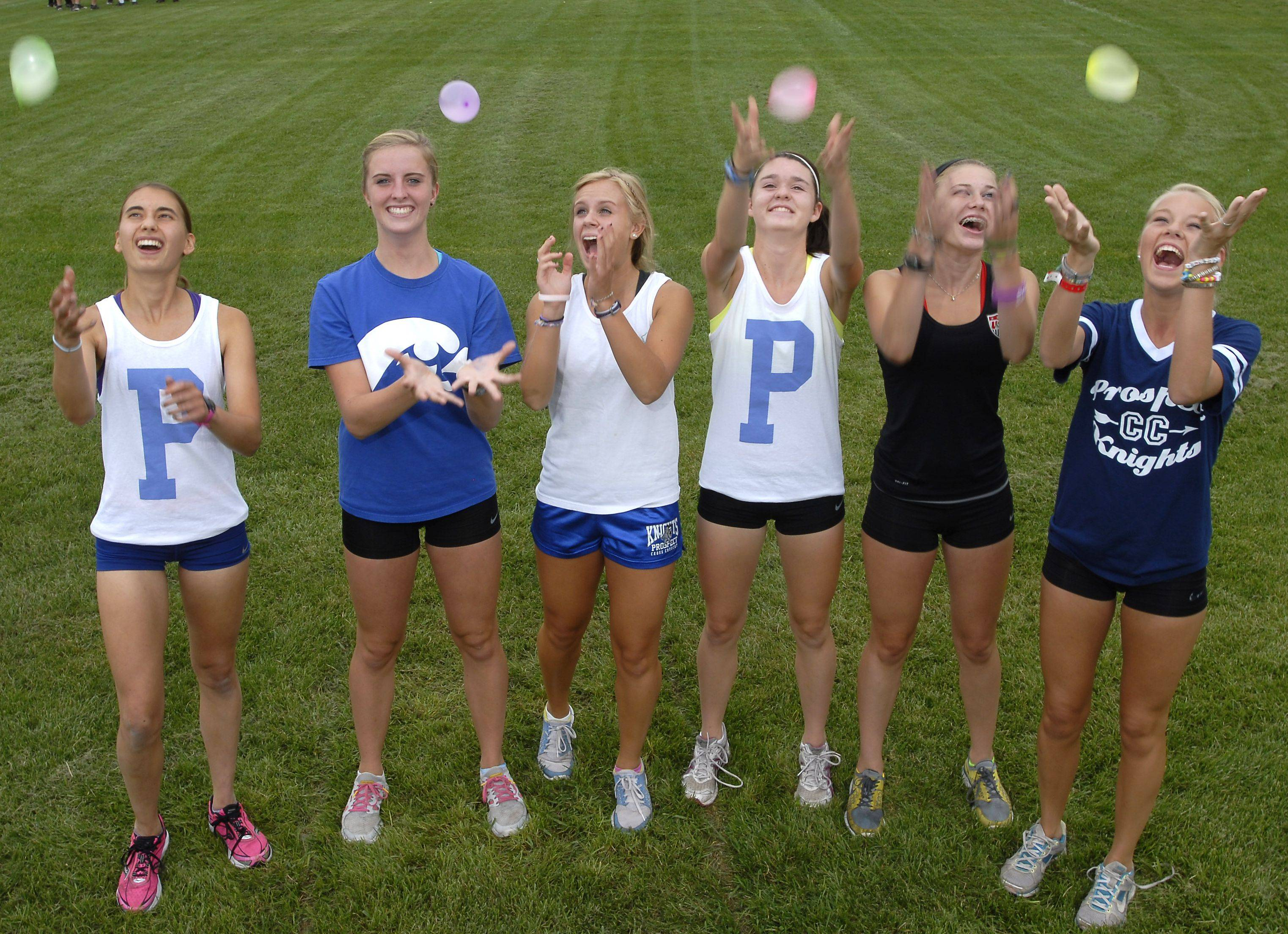 Prospect's state trophy-contending team includes from left, Kate Welsh, Brooke Wolfe, Lauren Poplawski, Rachel Henk, Katrina Leeney and Laura Maibuecher. A recent balloon-tossing, team-bonding episode only strengthened their resolve.