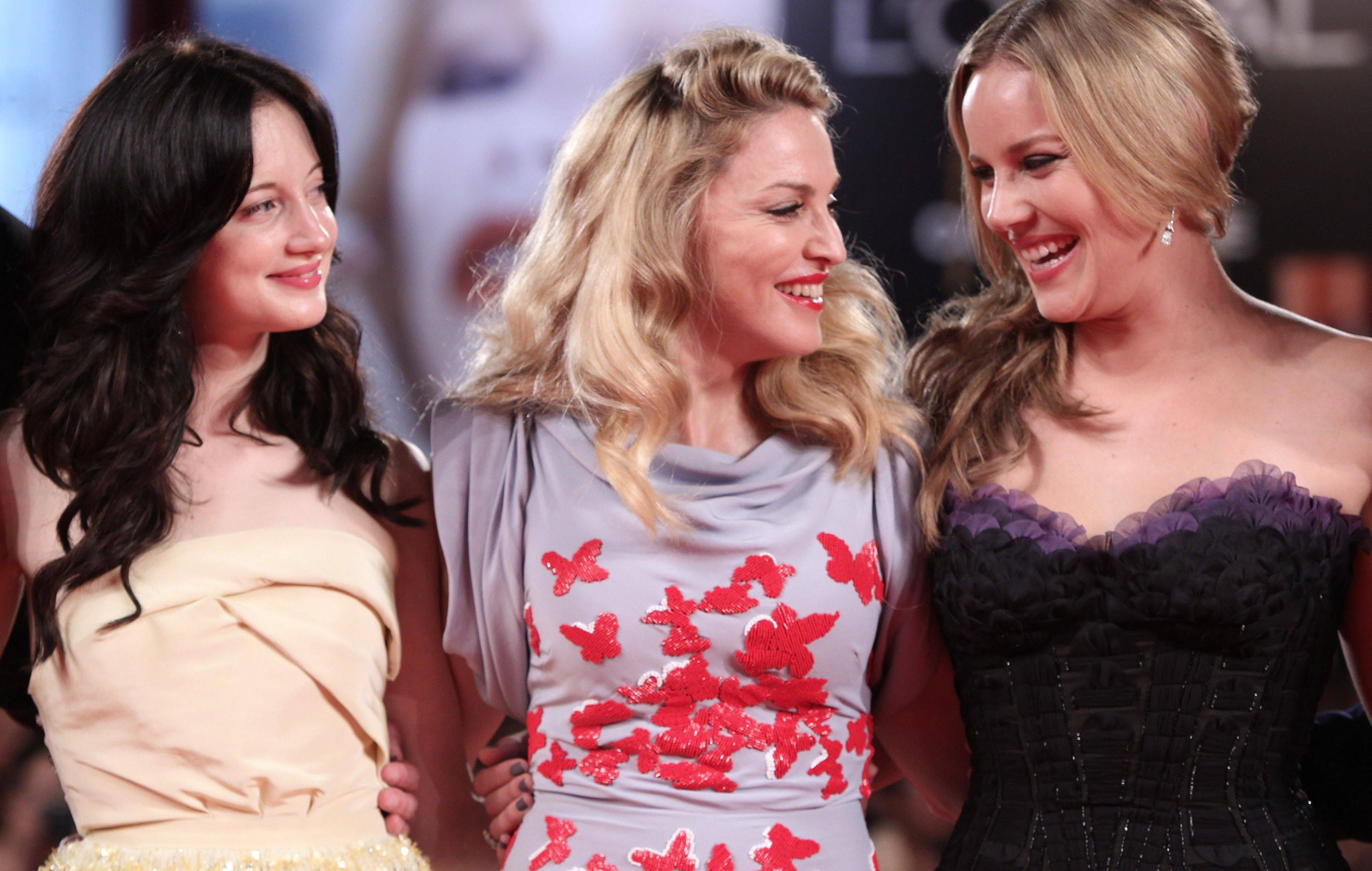 British actress Andrea Riseborough, singer and director Madonna and Australian actress Abbie Cornish arrive for the premiere of the film W.E. at the 68th edition of the Venice Film Festival in Venice, Italy, Thursday, Sept. 1.