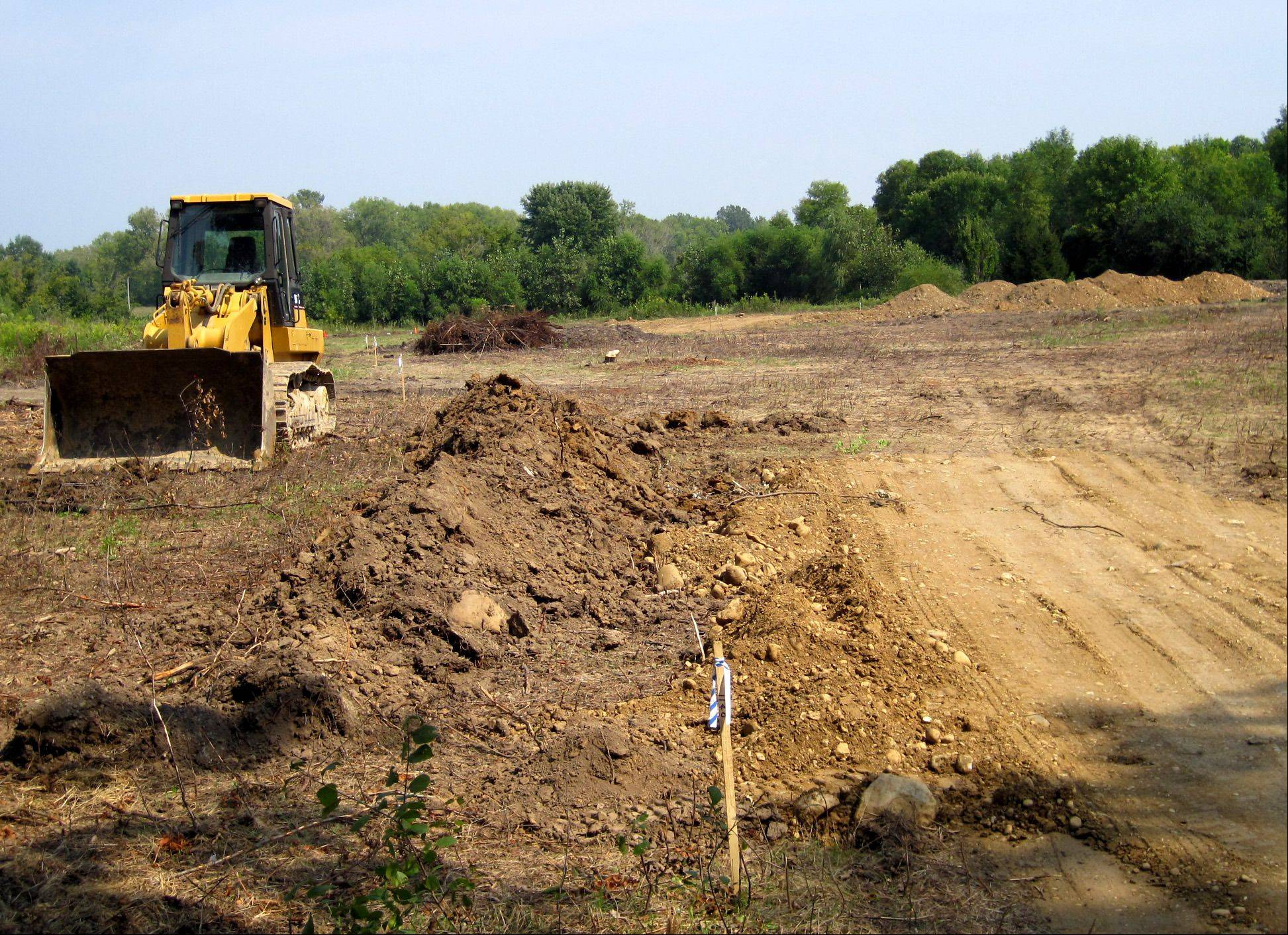 Trees have been removed and grading work is being done on the proposed site of the new public works garage off County Line Road, south of Route 22, in Fox River Grove.