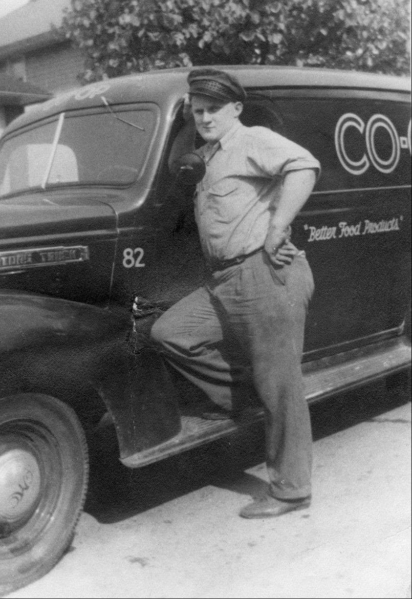 Walter Lampinen with the Co-op Dairy truck he drove all over the Northern suburbs.