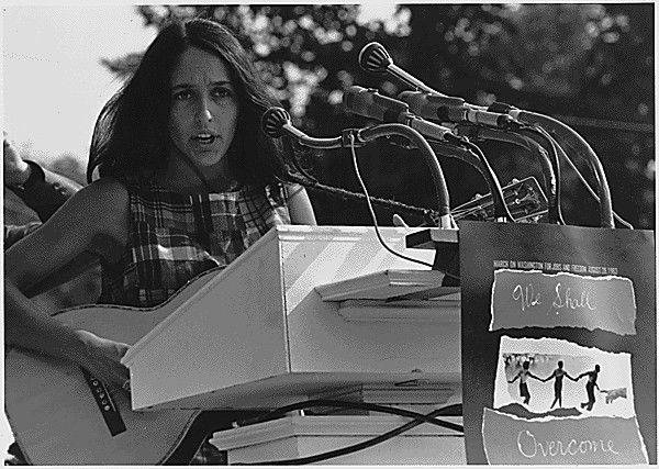 Joan Baez performs �We Shall Overcome� on the National Mall in 1963.