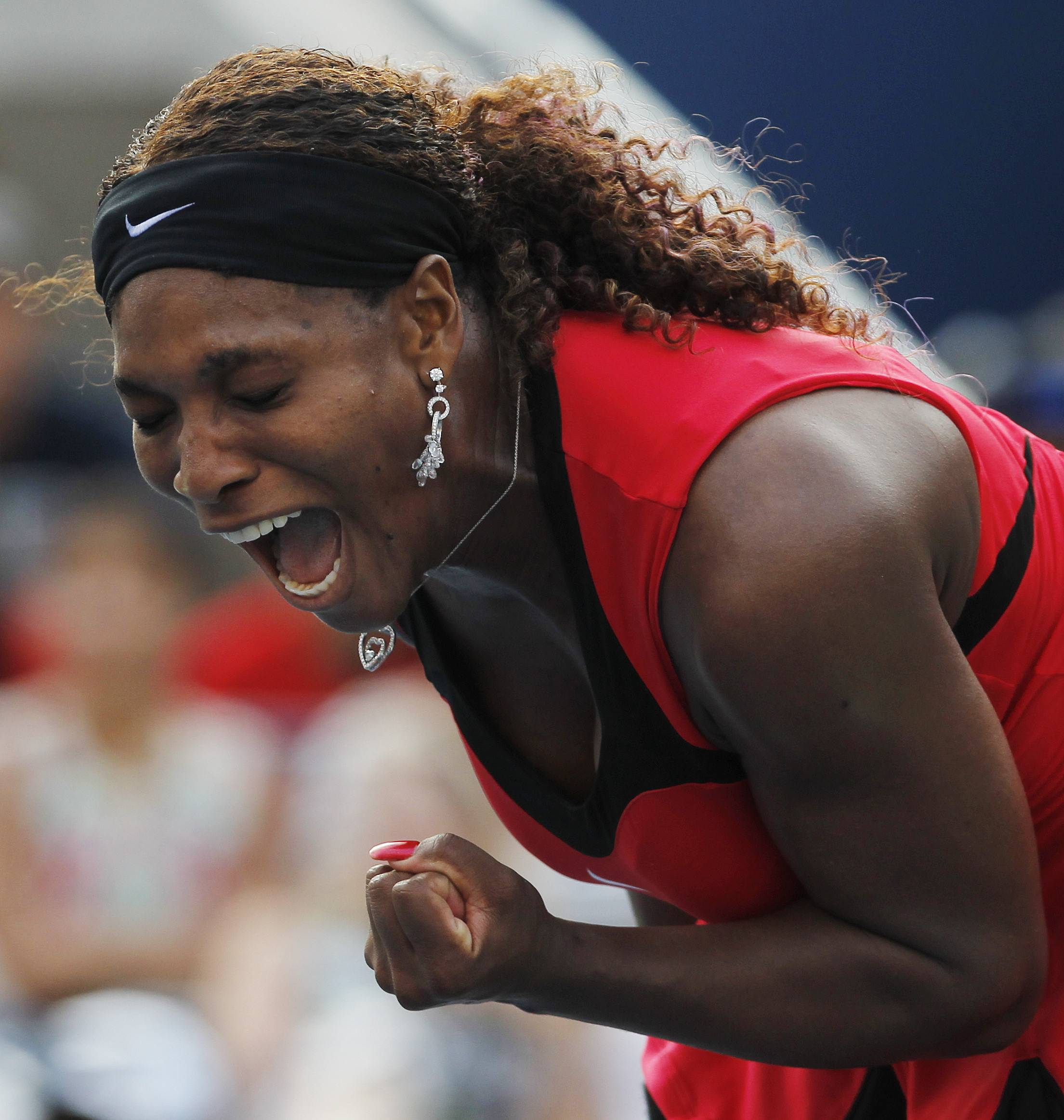 Serena Williams won her third-round match, 6-1, 7-6 (5) over fourth-seeded Victoria Azarenka, but not before losing her first four match points and getting pushed to the limit in the second set.