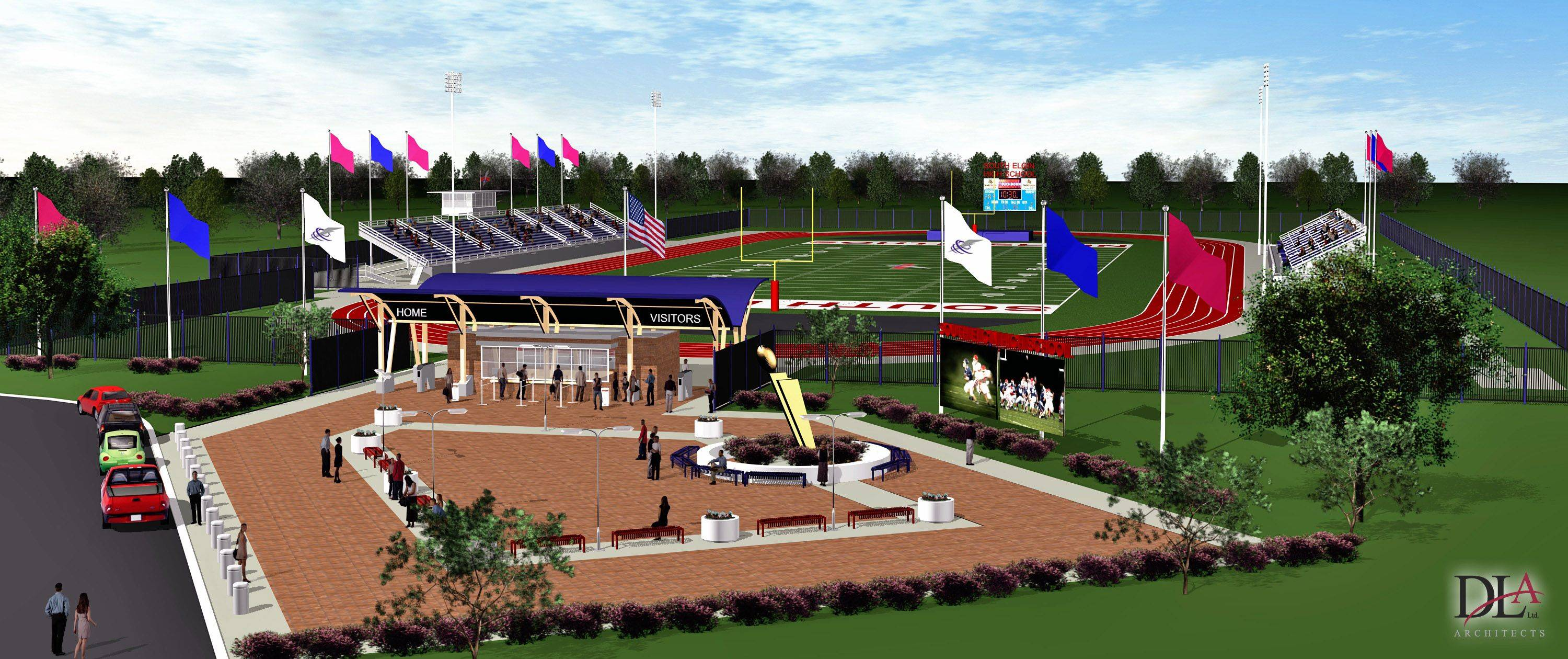 Rendering of the new stadium being built at South Elgin High School. The stadium is on course to be opened Saturday, Sept. 17 when the Storm host Metea Valley.