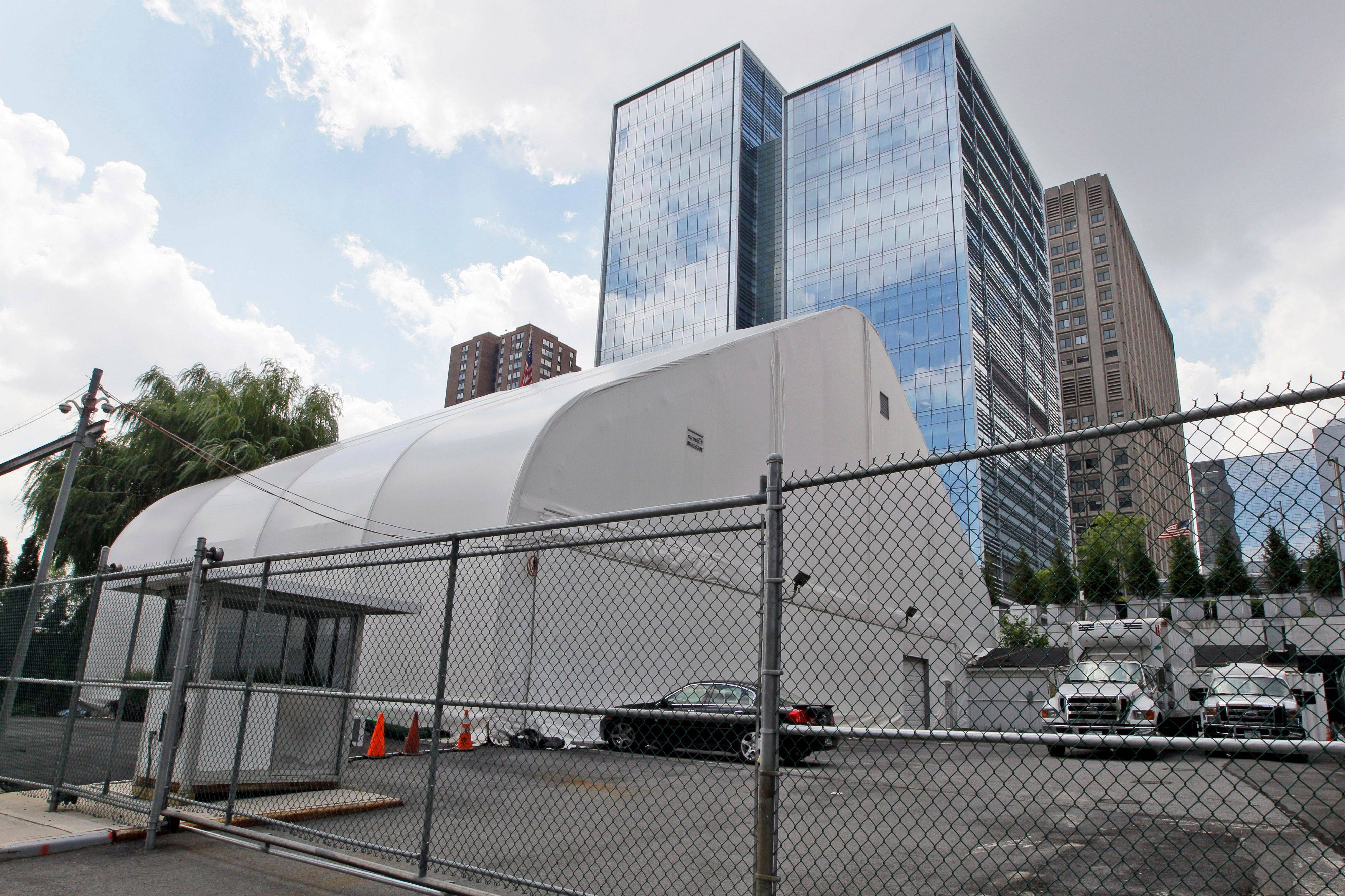 This tent houses a chapel and a storage area for the remains of victims of the attacks on the World Trade Center in New York.