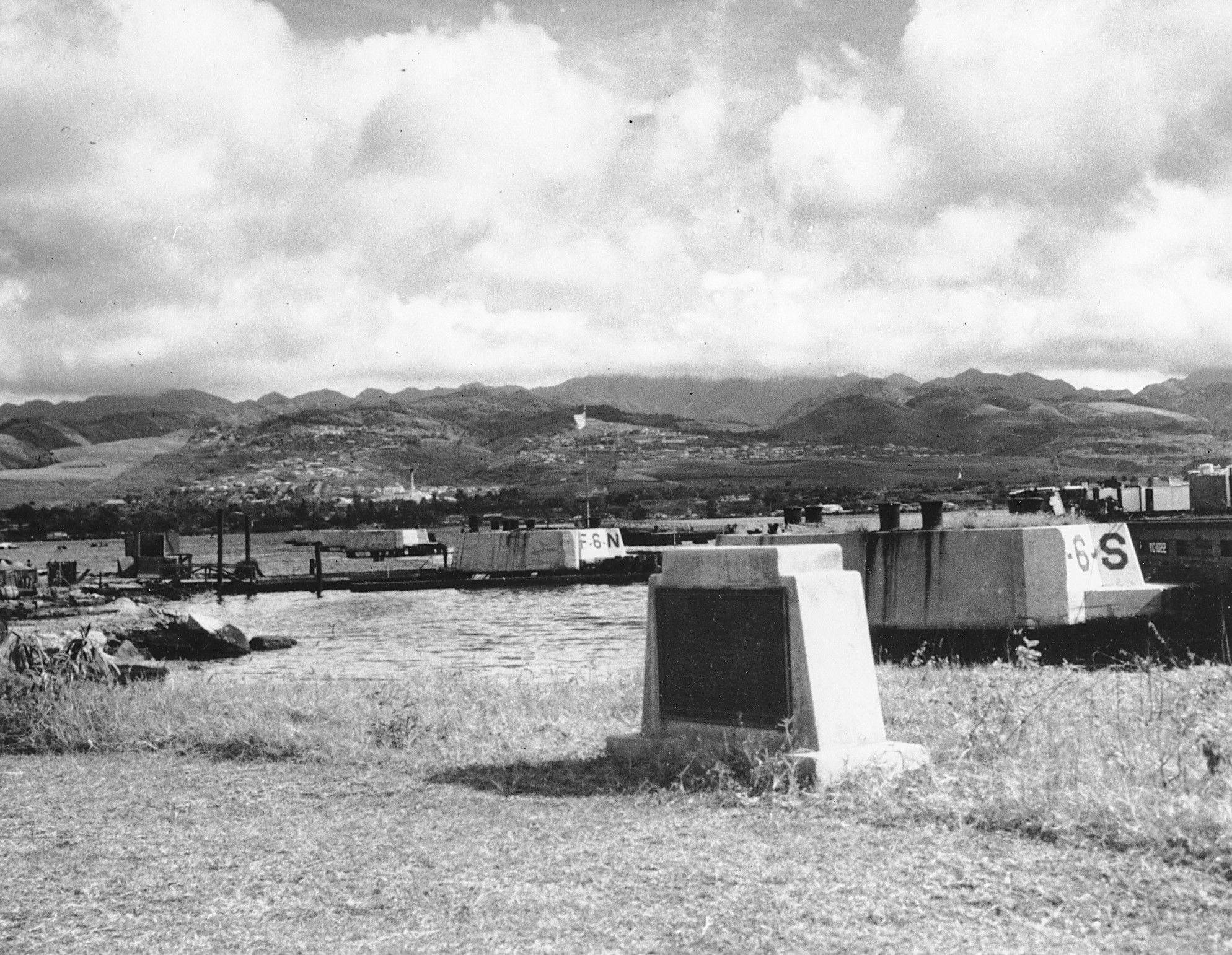 A small monument in memory of those killed in the Japanese attack on Pearl Harbor stands on Ford Island, in Pearl Harbor, Hawaii.
