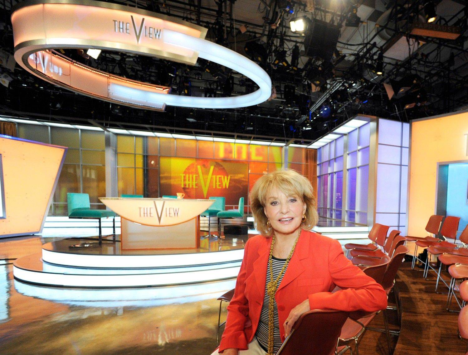 "In this image released by ABC, host Barbara Walters is pictured on the new set for the daytime talkshow ""The View."" The show will start it's 15th season on Tuesday."
