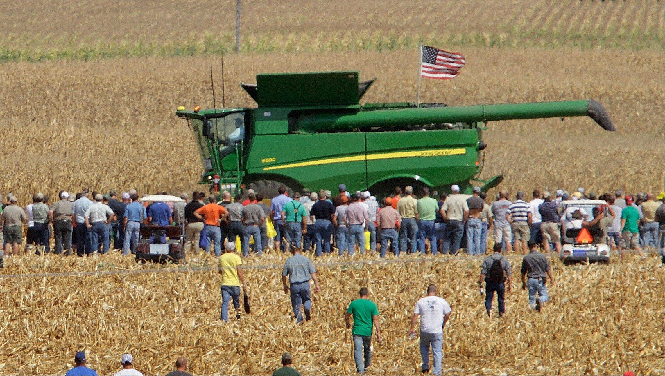 The farm equipment demonstrations are popular with visitors during the Farm Progress Show in Decatur.