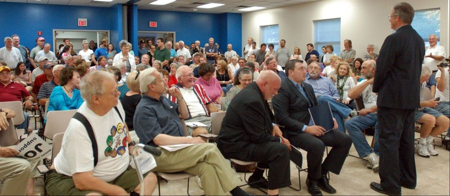 Several people came to a recent town hall meeting in Geneva to oppose positions taken by Congressman Randy Hultgren.