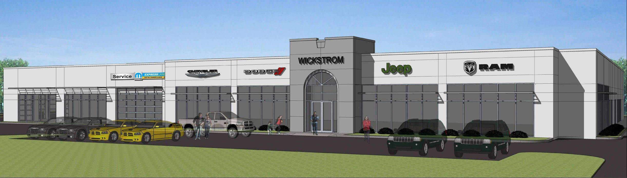 This is a conceptual rendering of Wickstrom Chrysler Jeep Dodge Ram�s 20,000-square-foot addition, on which construction will begin Tuesday.