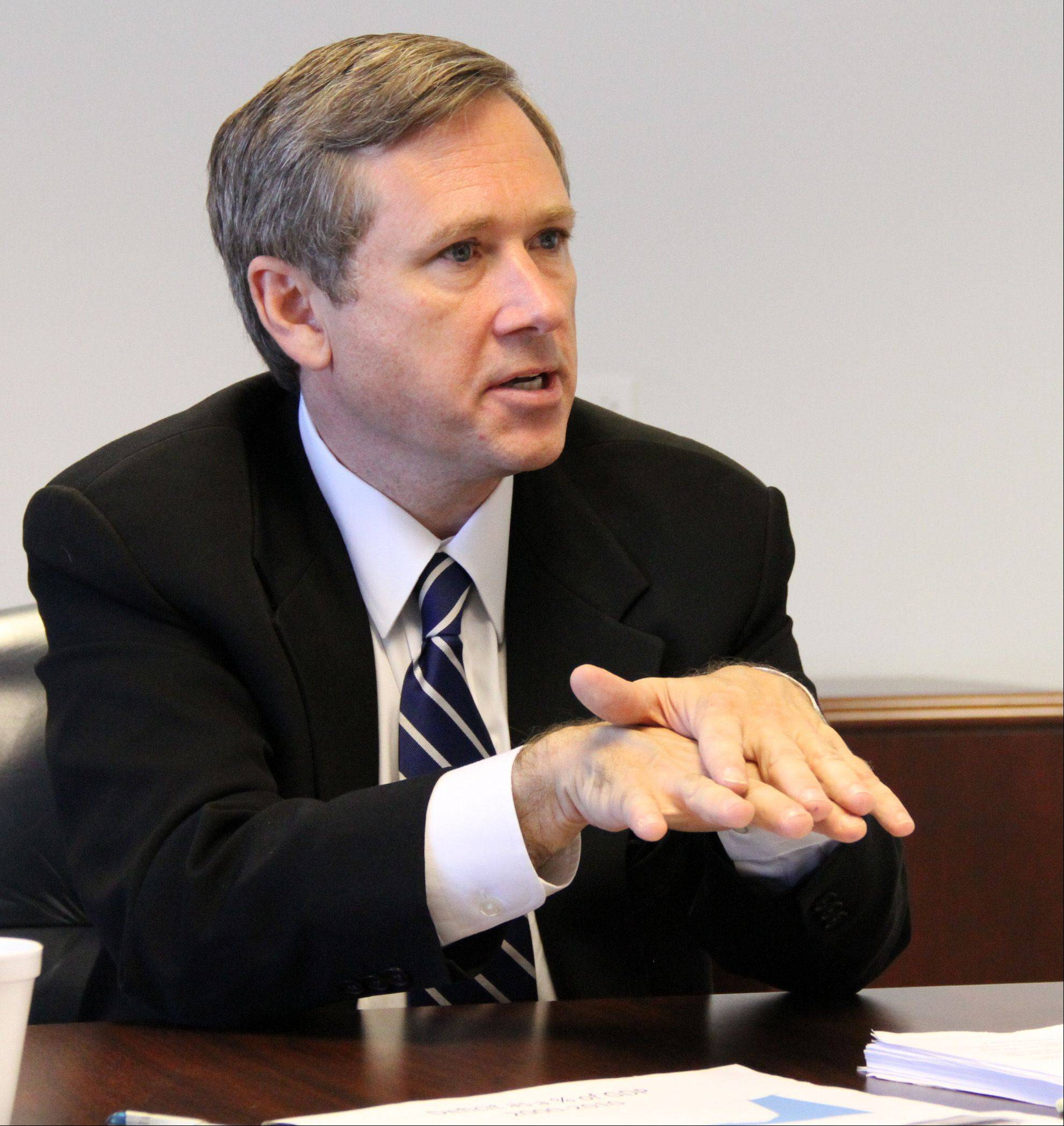 "GEORGE LECLAIRE/gleclaire@dailyherald.com � Sen. Mark Kirk said Tuesday he plans to ""be in the chamber to respect the office and listen to the message."""
