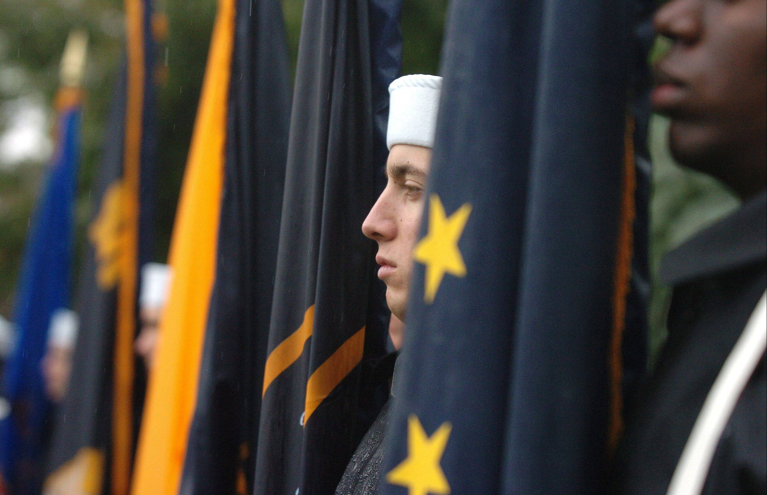 Great Lakes Naval Station color guard members participate in a Sept. 11 ceremony at Viking Park in Gurnee.