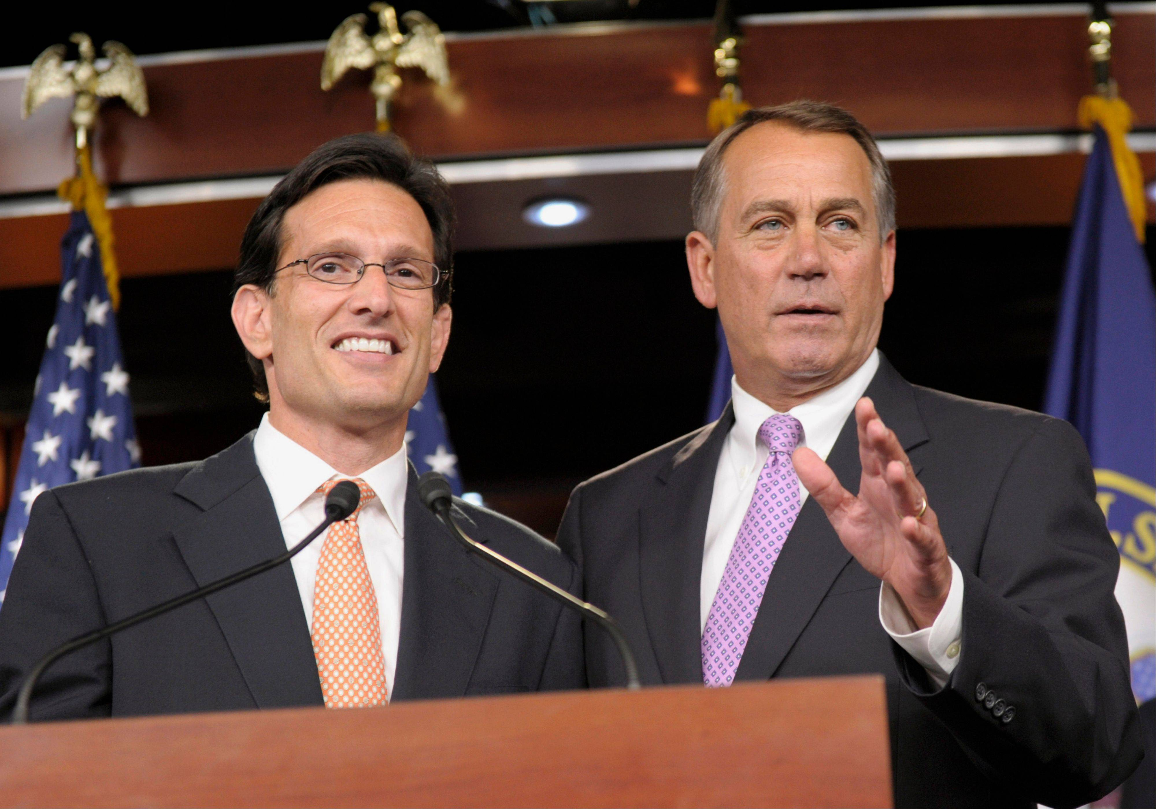 House Speaker John Boehner, right, and House Majority Leader Eric Cantor have sent President Barack Obama a letter seeking common ground in the effort to stimulate job growth.
