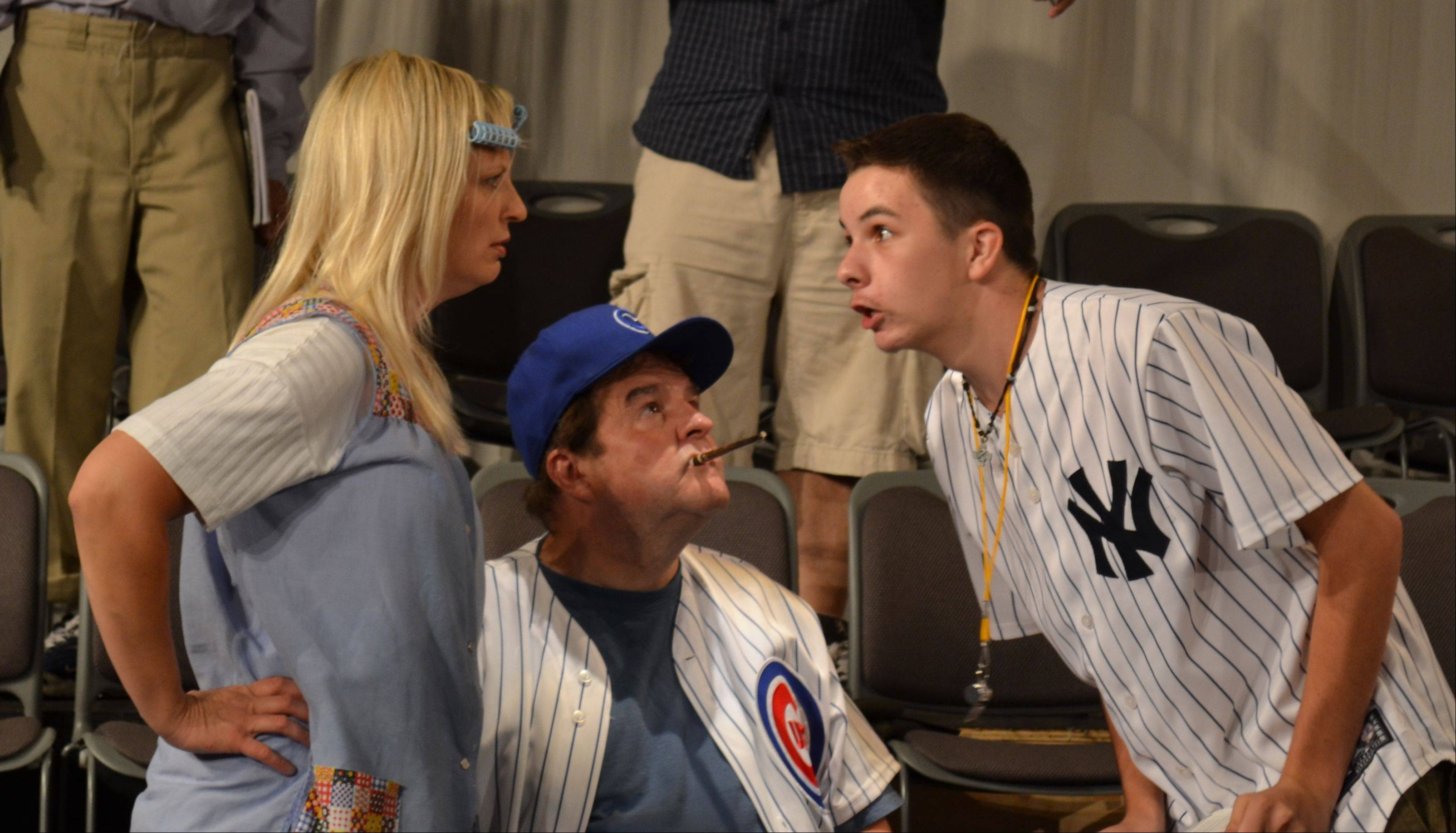 Debbie Dennison, from left, Jerry Wiel and Eric Richter appear in the Elgin Theatre Company production of �Bleacher Bums.� The nine-inning comedy will be presented starting Friday, Sept. 9.