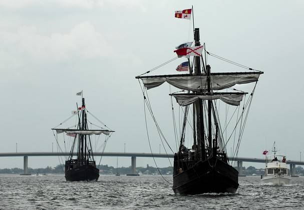 The Nina, right, and the Santa Clara, also known as the Pinta, replicas of caravel ships used by Christopher Columbus during his voyages across the Atlantic.