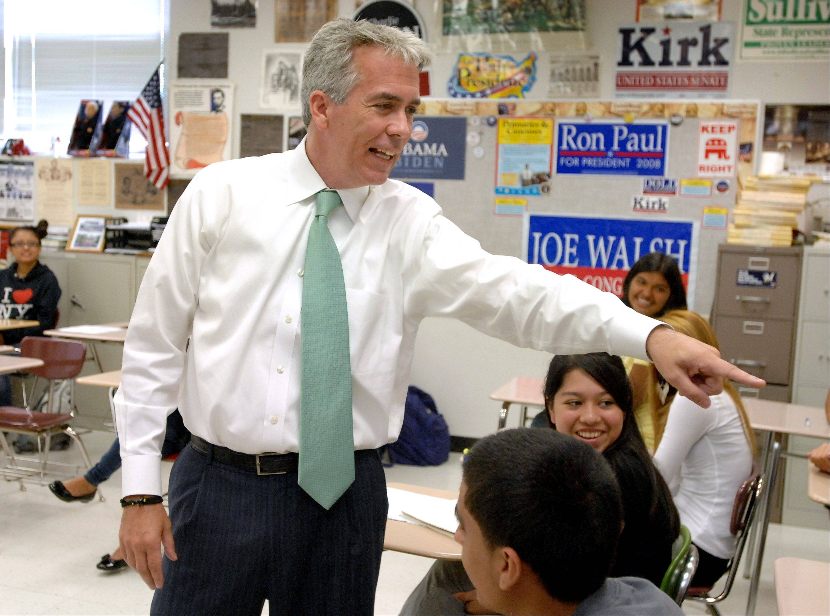Rep. Joe Walsh talks with AP Government students at Mundelein High School Tuesday morning.