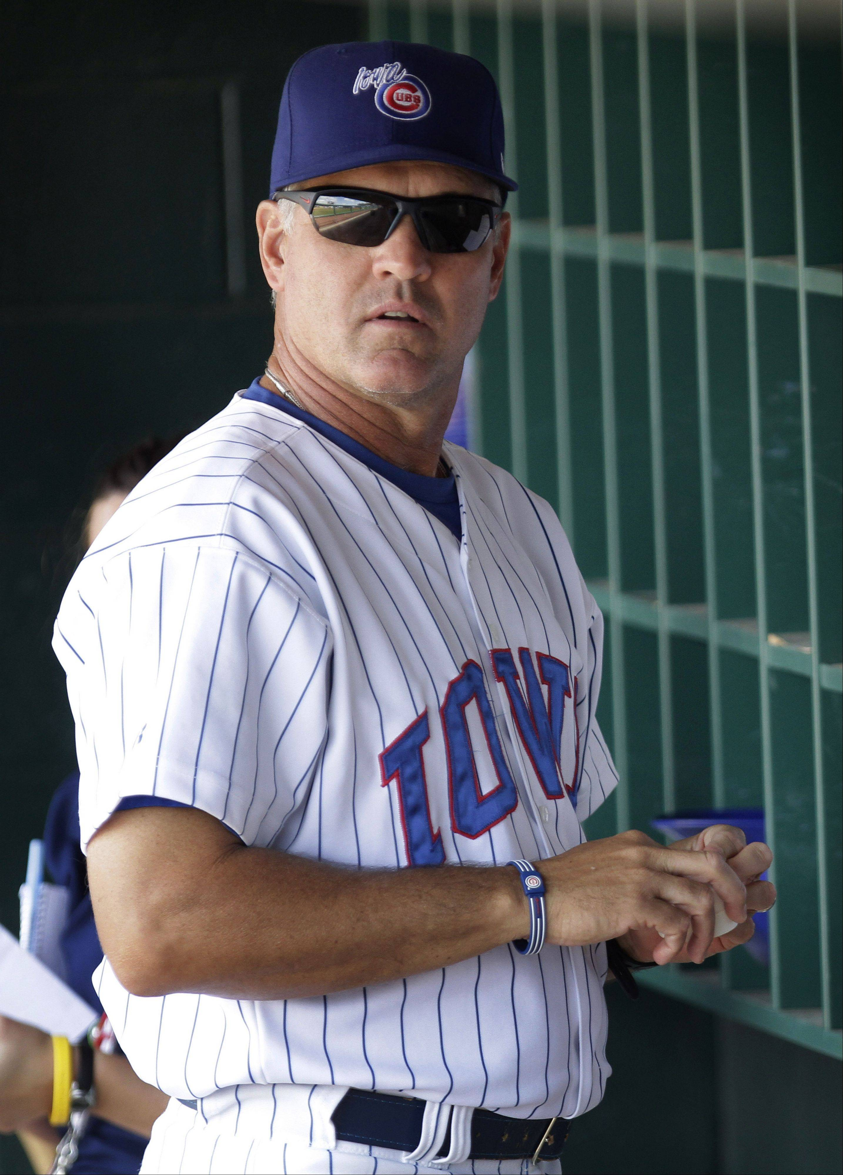 Ryne Sandberg as manager of the Iowa Cubs in the summer of 2010.