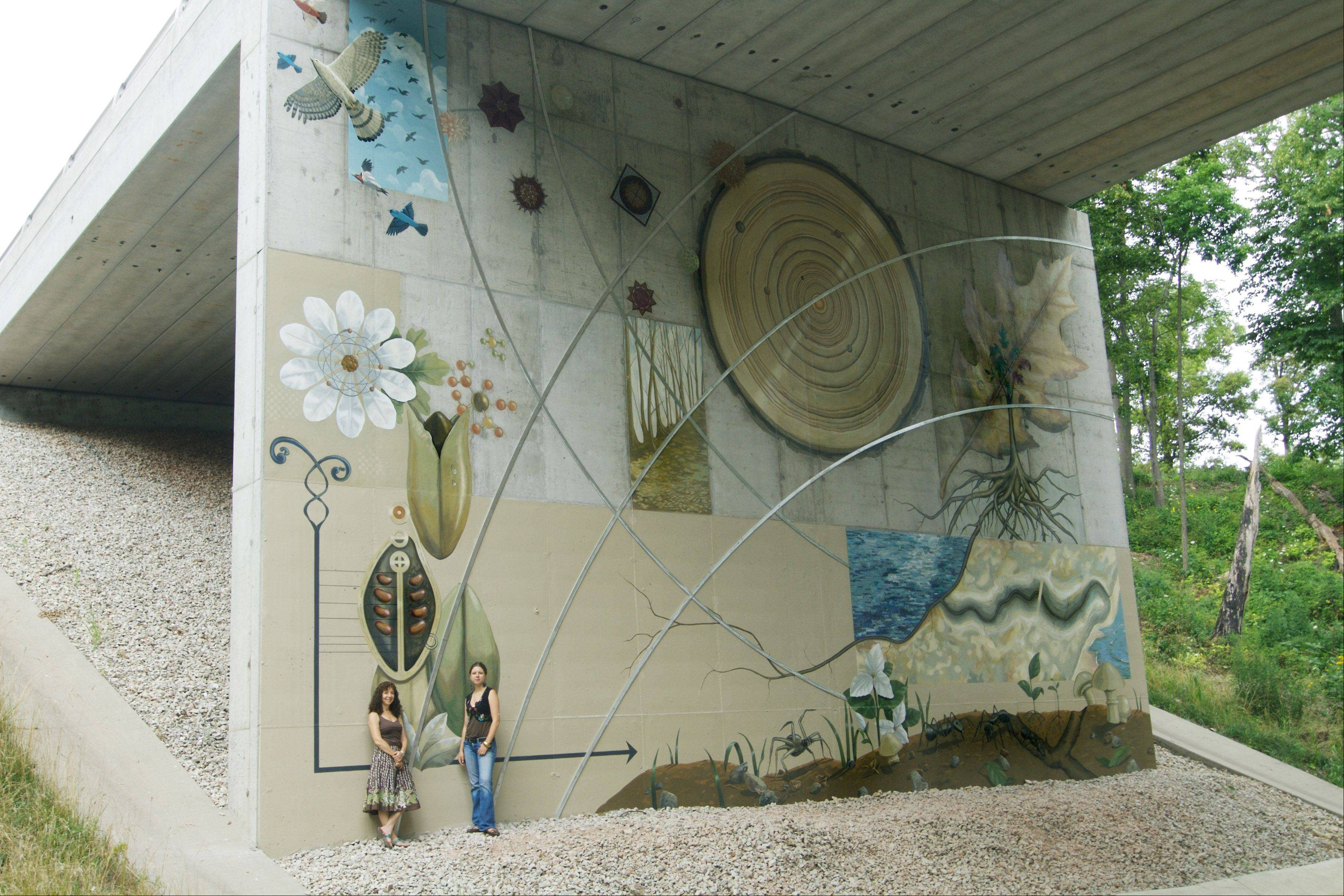 Site-specific artwork, such as the Arc of Nature mural, is a key element of the Openlands Northshore Preserve, which is part of the former Fort Sheridan military post in Highland Park.