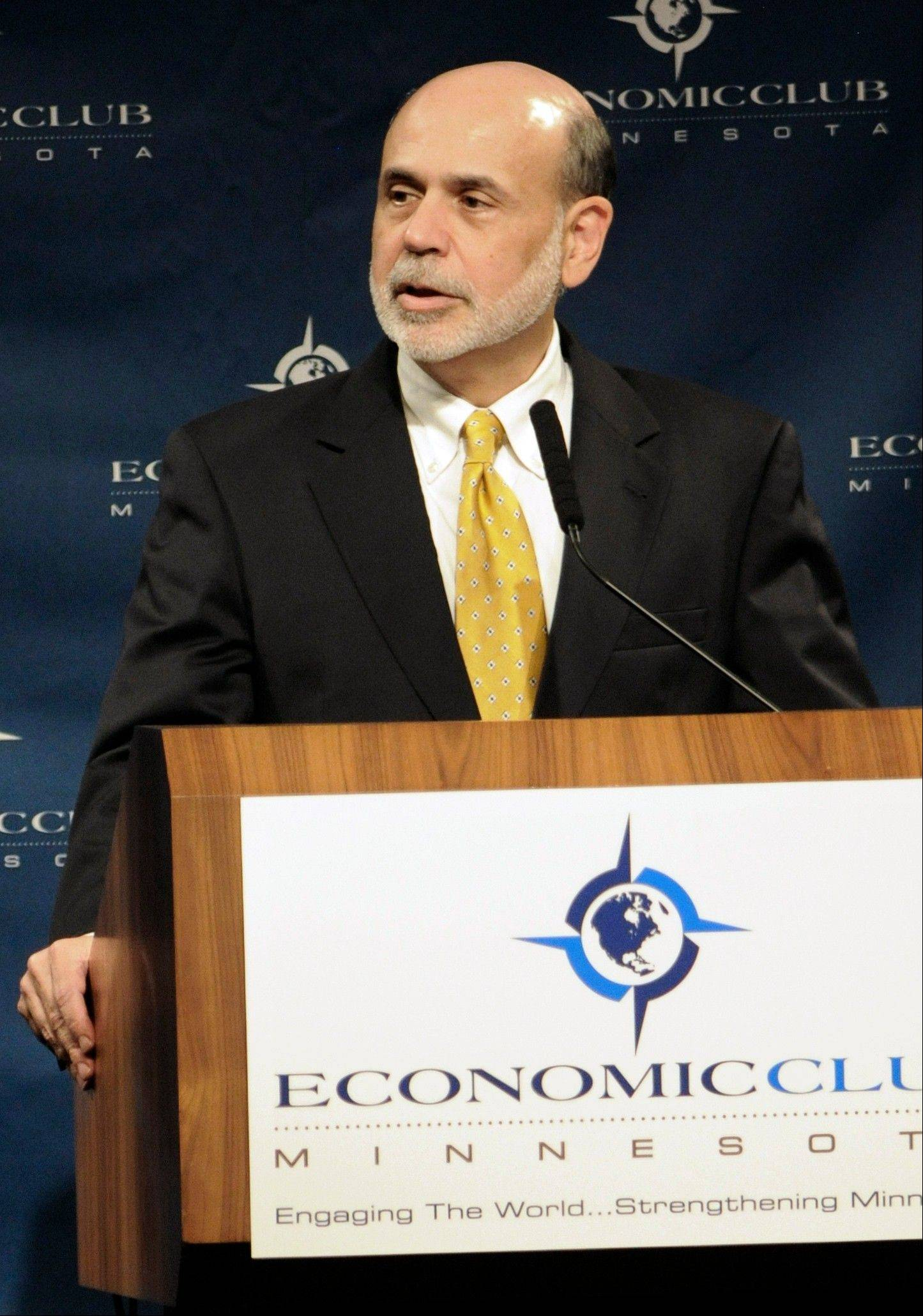 Federal Reserve Chairman Ben Bernanke addresses the Economic Club of Minnesota Thursday in Minneapolis.
