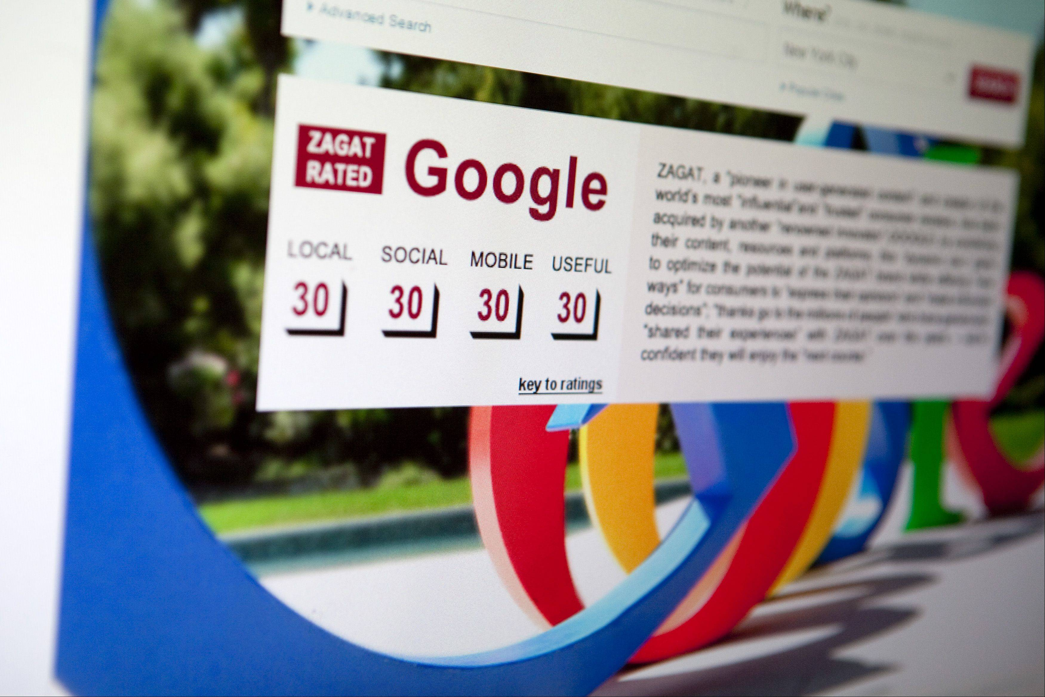A Google Inc. review is seen on the homepage of Zagat Survey LLC on Thursday. Google has acquired Zagat, the review and ratings service known for its burgundy-colored restaurant guides.