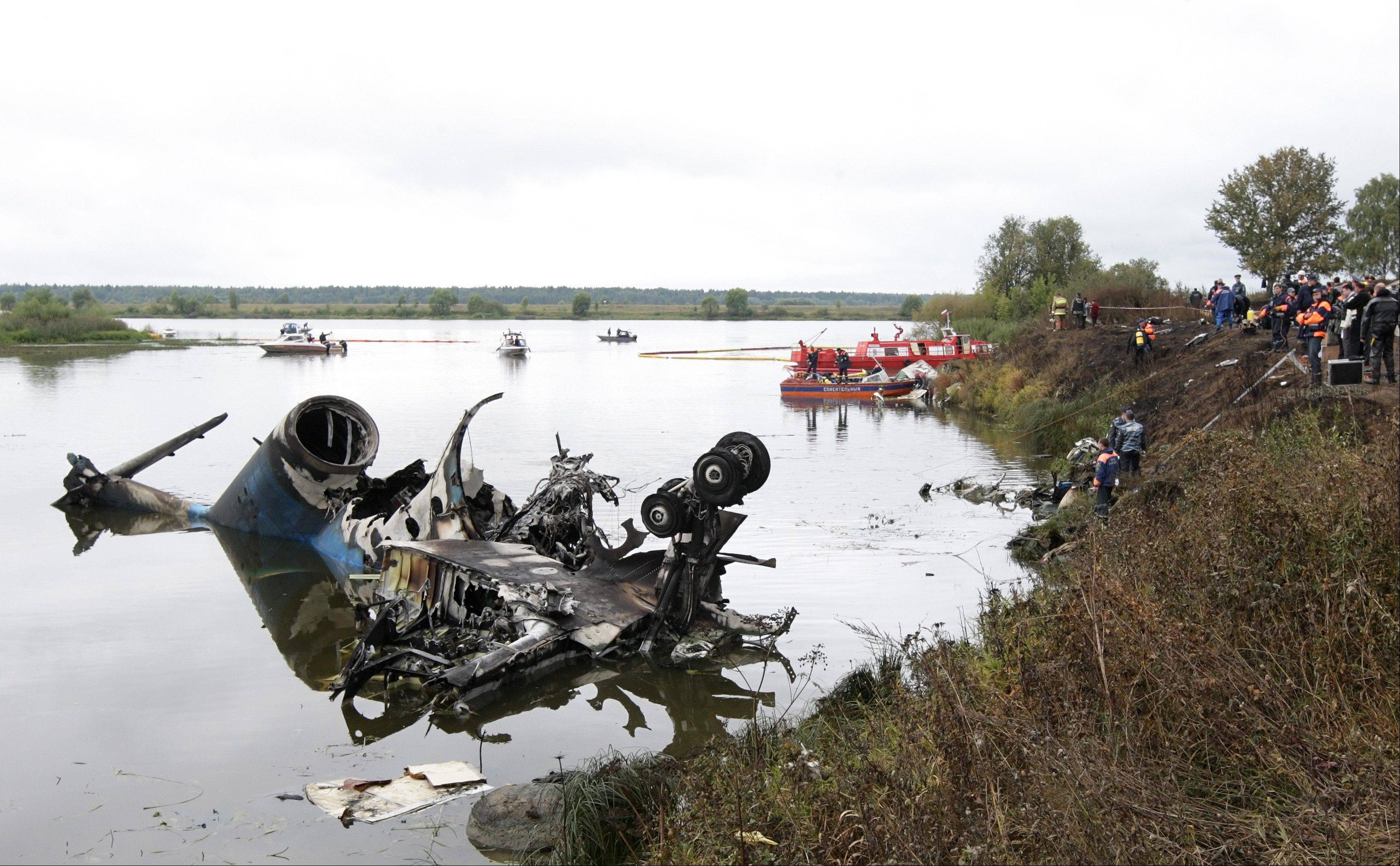 General view of a plane crash site near Yaroslavl, on the Volga River about 150 miles northeast of Moscow. Associated Press