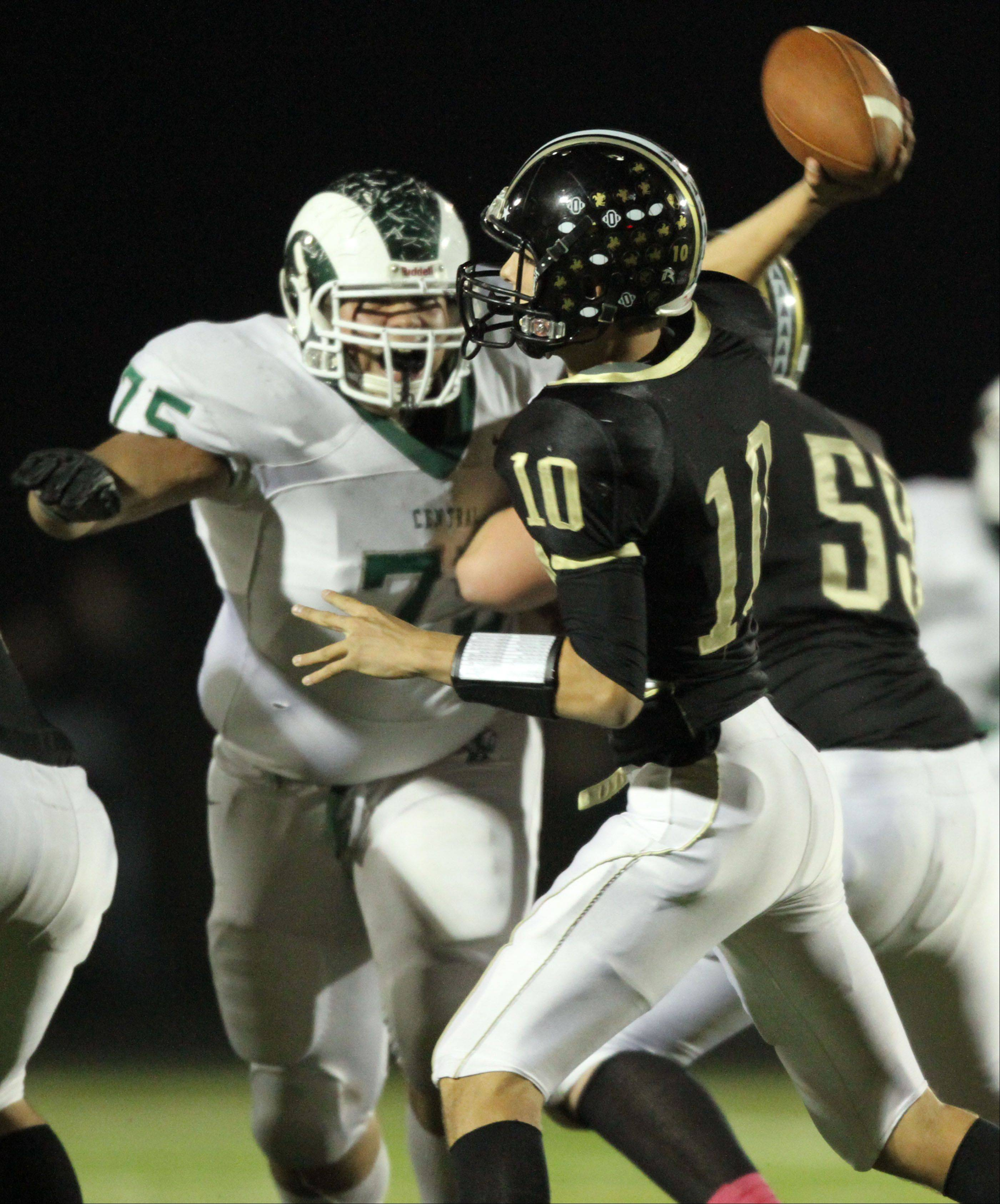 Grayslake North quarterback AJ Fish, here competing against Grayslake Central last fall, is helping the Knights' no-huddle offense reach new heights this season.