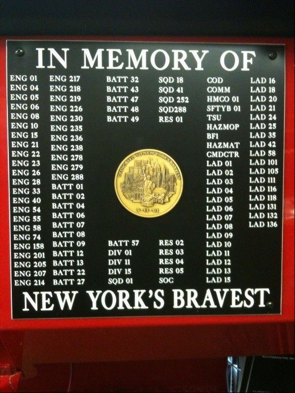Elgin firefighter John Tobin added this plaque, memorializing the firefighters killed on Sept. 11, on the restoration project he made for the New York Fire Department.