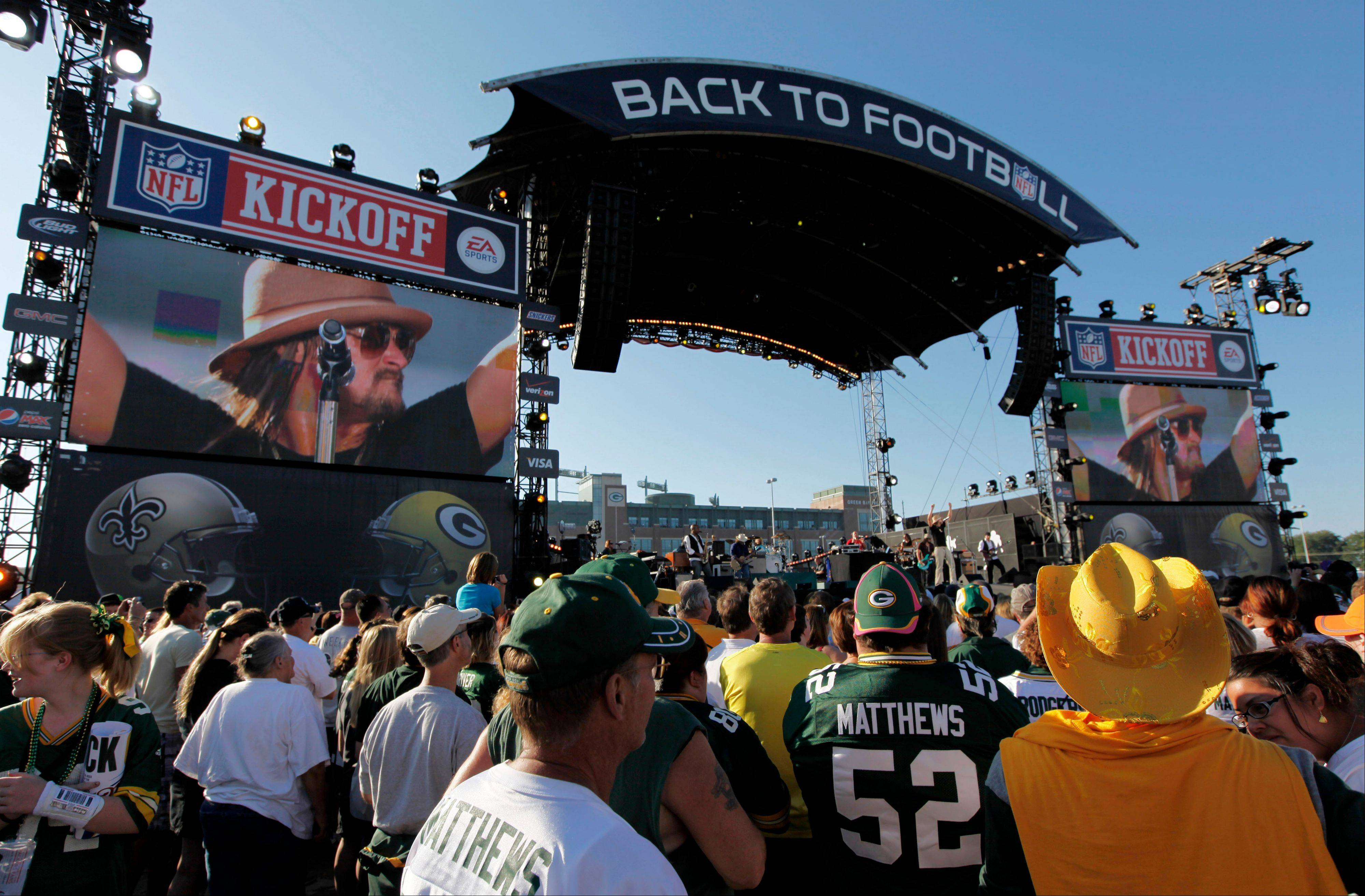 Kid Rock performs before the first NFL game of the season Thursday, between the Green Bay Packers and the New Orleans Saints.