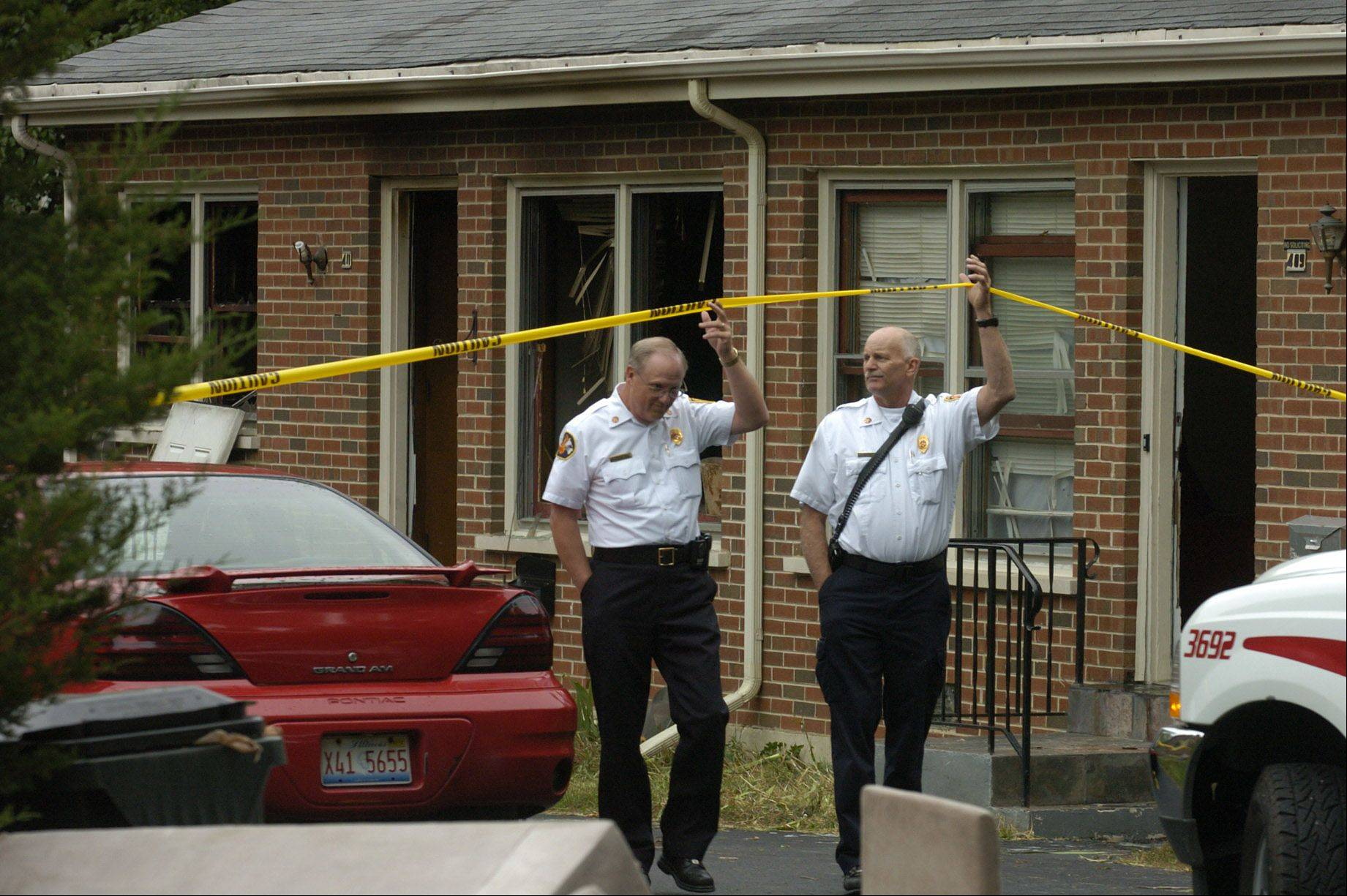 Authorities investigate a fatal fire on the 400 block of June Terrace in Barrington on Friday. The victim was identified as 52-year-old Richard Sowa.