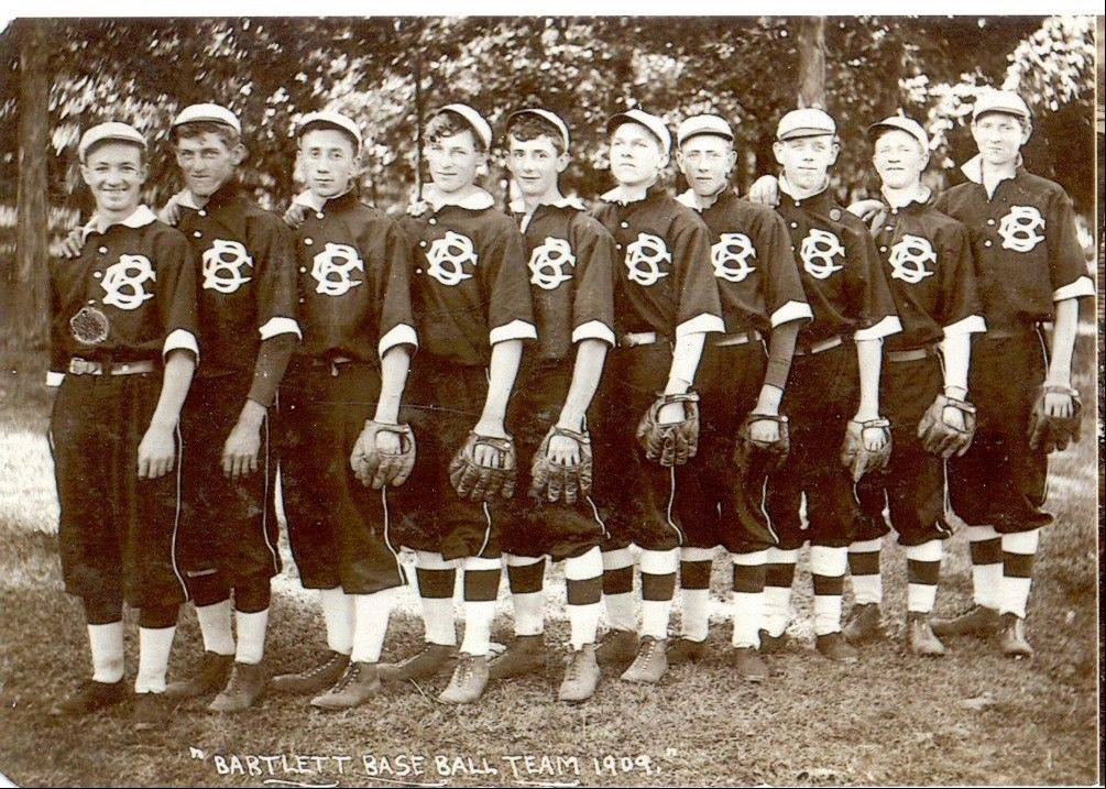 The 1909 Bartlett Cubs, pictured here, will be revived to play against the Rockford Forest City Vintage Base Ball Club, using 1858 rules. Local dignitaries will don Cubs uniforms designed by Bartlett Sports to replicate the ones from 1909.
