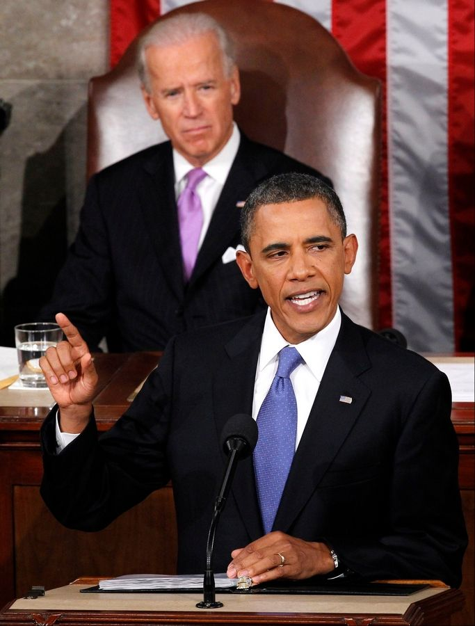 President Barack Obama speaks to a joint session of Congress at the Capitol in Washington, Thursday, Sept. 8, 2011 as Vice President Joe Biden watches.
