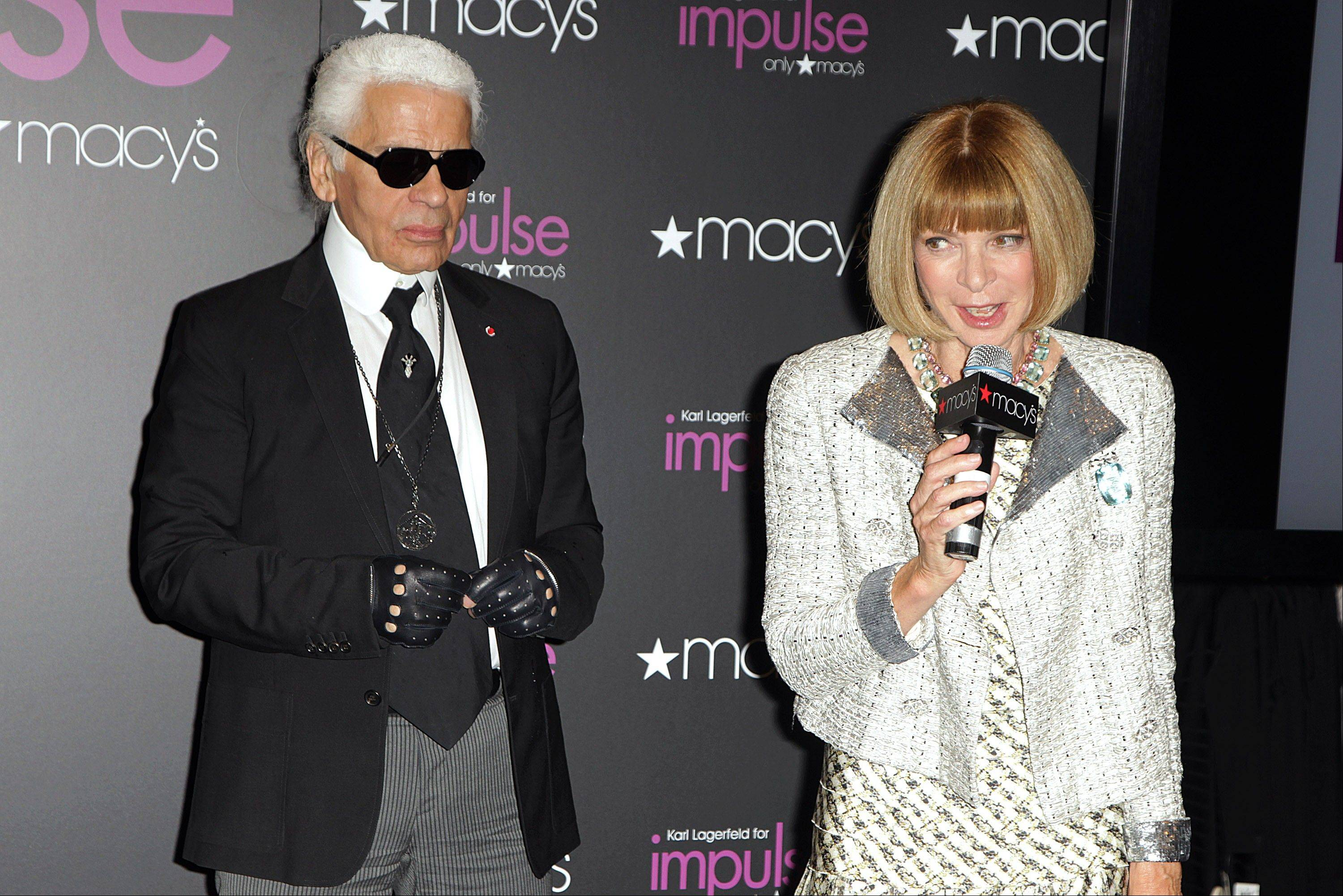 Fashion designer Karl Lagerfeld appears with Vogue editor Anna Wintour at Macy�s Herald Square flagship store where he unveiled his exclusive new collection, Karl Lagerfeld For Impulse Only, this week in New York.
