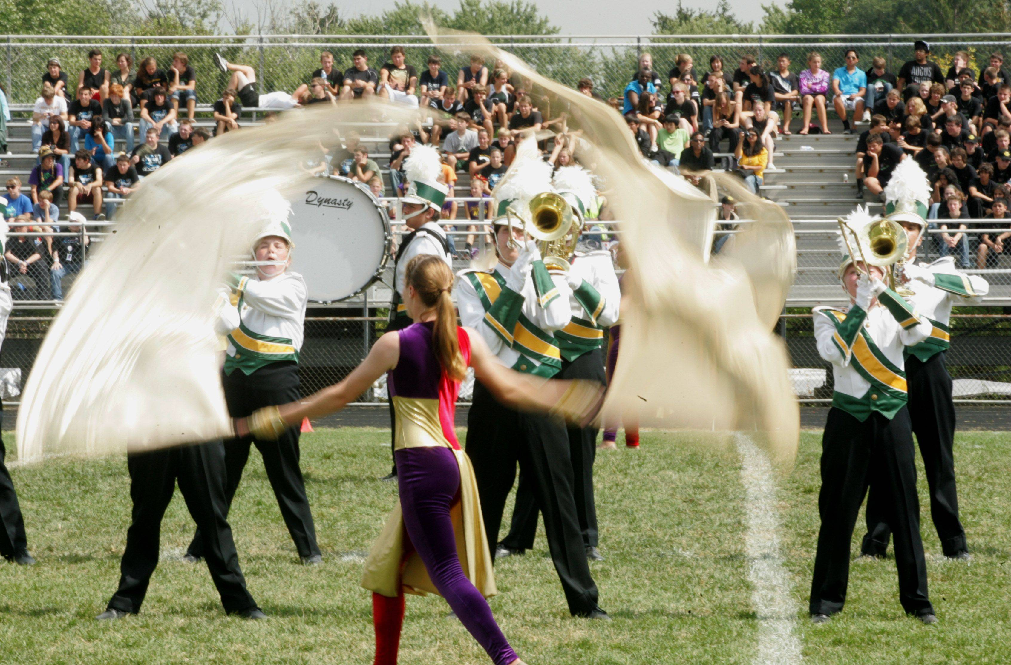 Waubonsie Valley High School performs Saturday during the 33rd annual Lancer Joust Marching Band Competition at the Lake Park High School West campus.