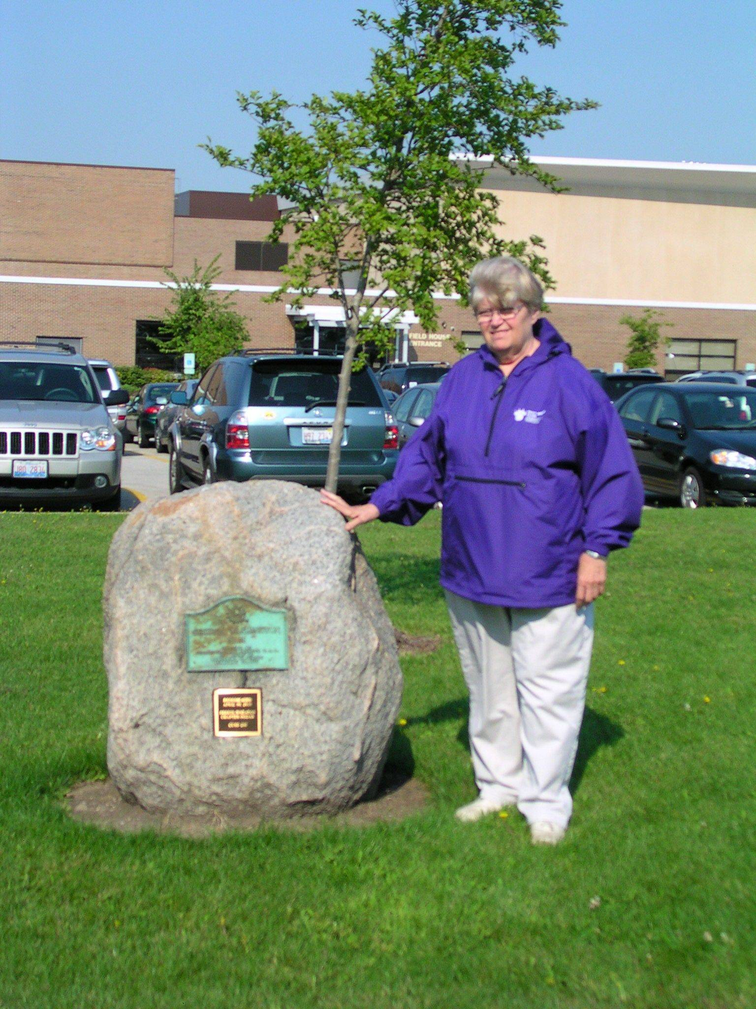 Linda Wingstrom of Lisle is a member of the Perrin-Wheaton Daughters of the American Revolution chapter. The chapter had dedicated the boulder (in honor of early members) at Wheaton Community High School in 1932. The chapter worked with the school district to move it in April 2010 to Wheaton Warrenville South High School, where it was rededicated, along with an elm tree, on Arbor Day, April 30, 2010.