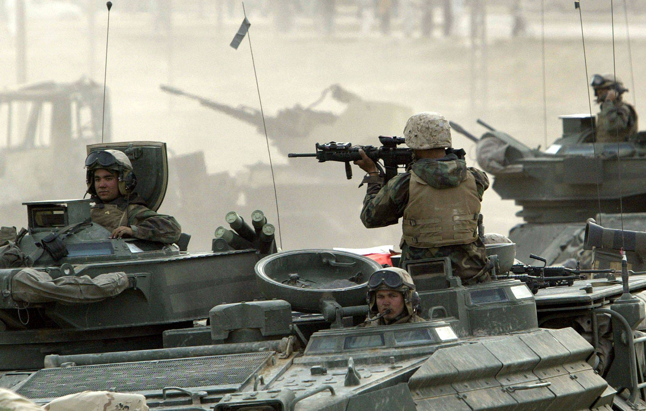 U.S. Marines in Iraq capture a bridge on the Tigris River, securing a key crossing point for their advance on Baghdad in 2003.