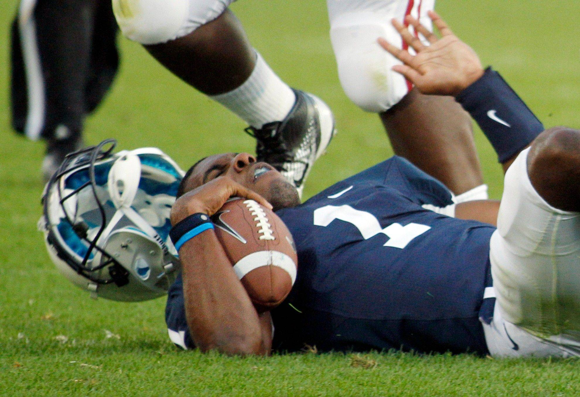 Penn State quarterback Rob Bolden loses his helmet Saturday after getting hit on a scramble in the fourth quarter. Alabama won 27-11.